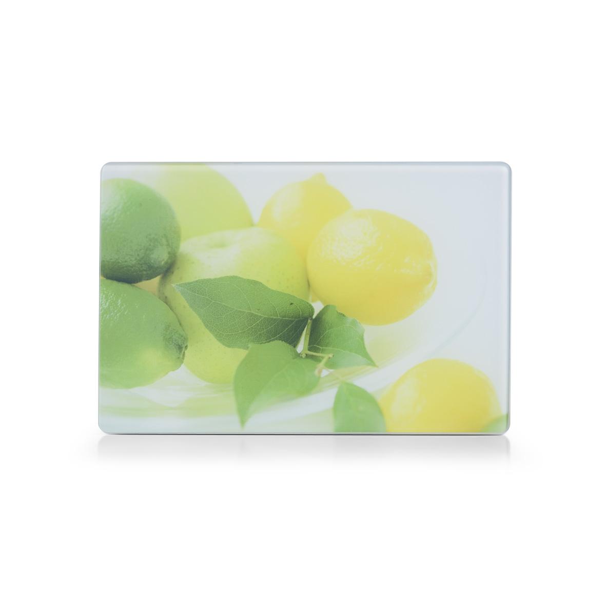 Доска разделочная Zeller Лимоны, стеклянная, 30 х 20 см26261Разделочная доска Zeller Лимоны выполнена из жароустойчивого стекла. Изделие, украшенное красочным изображением спелых яблок, лимонов и лайма, идеально впишется в интерьер современной кухни. Изделие легко чистить от пятен и жира. Также доску можно применять как подставку под горячее. Доска оснащена резиновыми ножками, предотвращающими скольжение по поверхности стола. Разделочная доска Zeller Лимоны украсит ваш стол и сбережет его от воздействия высоких температур ваших кулинарных шедевров.