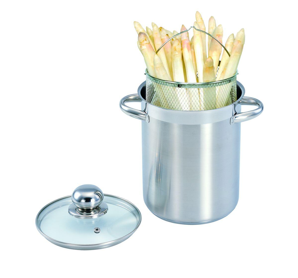 Спагетница 4,1л 440016440016Кастрюля для спагетти изготовлена из высококачественной нержавеющей стали 18/10 с полировкой поверхности до зеркального блеска. Кастрюля для спагетти представляет собой основную кастрюлю и вставку-сетку. Такая кастрюля идеально подходит для приготовления всех видов макаронных изделий, варки компотов. Сетка-вставка может заменить дуршлаг. Можно использовать как фритюрницу. Высококачественное трехслойное основание с цельноалюминиевой сердцевиной быстро поглощает тепло и равномерно распределяет Сварные ручки из нержавеющей стали обеспечивают превосходную прочность и долговечность. Крышка с вентиляционным отверстием изготовлена из качественного жаростойкого стекла, что позволяет контролировать процесс приготовления пищи без потерь тепла, а также обеспечивает легкость и контроль приготовления пищи. Подходит для всех типов конфорок, включая индукционные. Пригодна для мытья в посудомоечной машине.