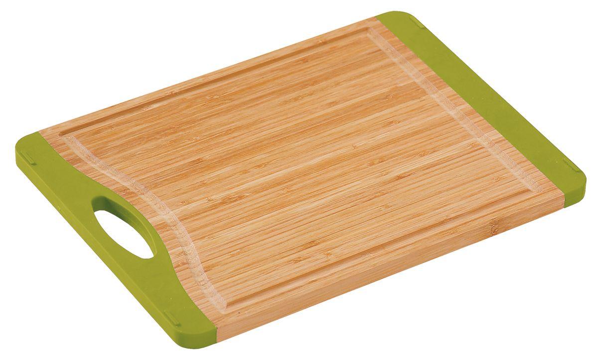 Доска разделочная с ручкой, 40х30см., бамбук5014-5Доска разделочная с ручкой, изготовлена из бамбука с антискользящими зелеными вставками.Прекрасно подходит для приготовления и сервировки пищи. . светлое дерево с зелыными встаквками