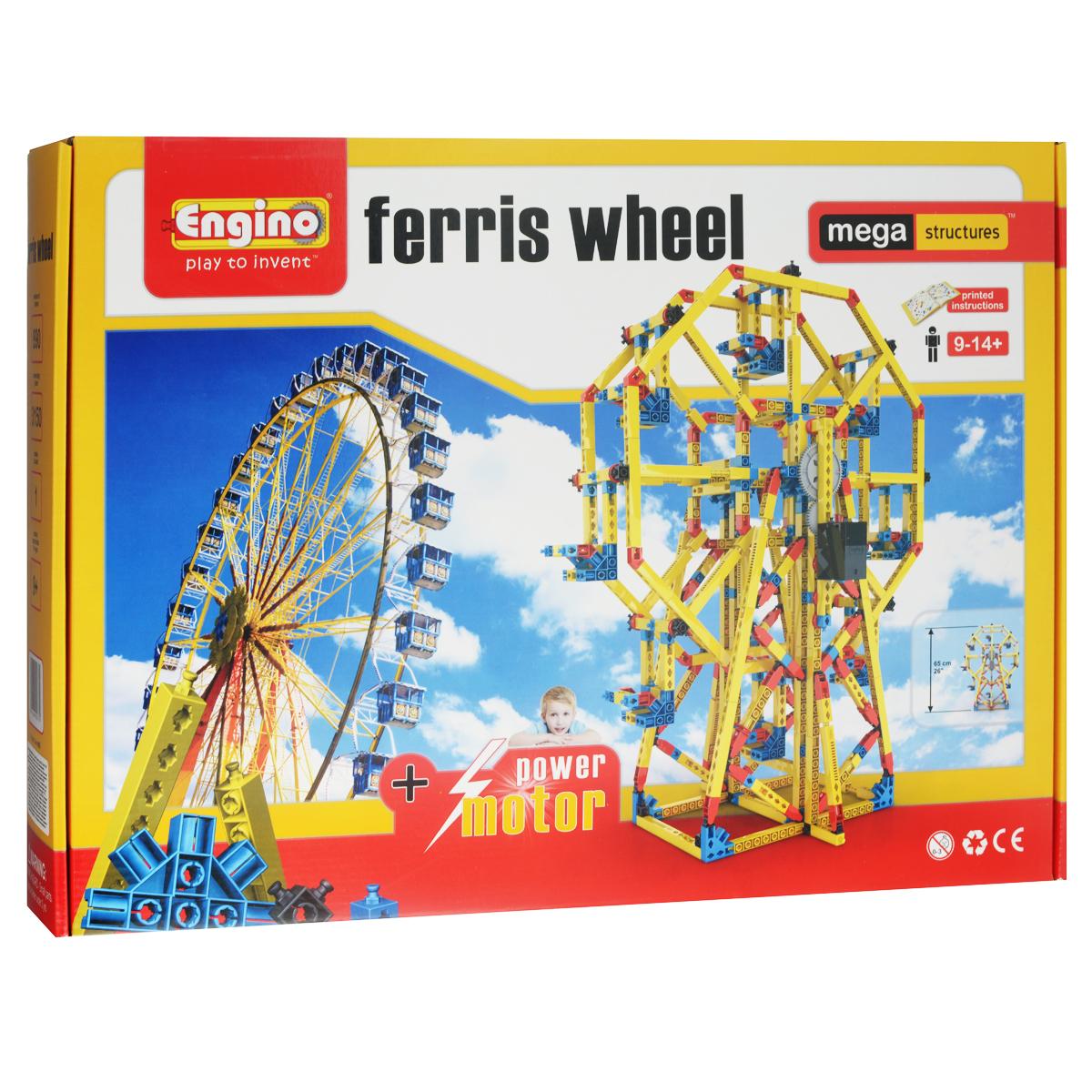 Engino Конструктор Ferris WheelMS2Конструктор Engino Ferris Wheel позволит вашему ребенку построить действующую модель первого в мире колеса обозрения и запустить ее при помощи электродвигателя! Комплект включает 705 элементов конструктора, в том числе электродвигатель, и схематичную инструкцию по сборке. Это сооружение, также известное как колесо обозрения Ферриса, было построено в 1893 г. инженером Джорджем Феррисом к Всемирной Колумбовской выставке в Чикаго. Набор серии Мега Конструкции - не только познавательная игра, позволяющая создавать трехмерные сооружения, но и восхитительный подарок! Необходимо докупить 2 батарейки напряжением 1,5V типа ААА/LR03 (не входят в комплект).