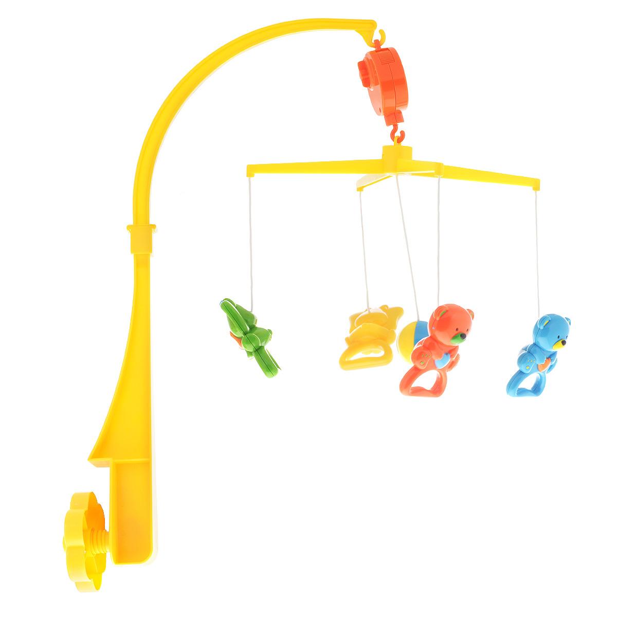 Canpol Babies Мобиль Музыкальная карусель 2/9652/965Мобиль Canpol Babies Музыкальная карусель создаст атмосферу уюта и спокойствия в детской комнате. Все элементы мобиля изготовлены из высококачественных материалов и абсолютно безопасны для малыша. Основание мобиля надежно крепится к детской кроватке при помощи пластикового винта. Кронштейн легко устанавливается на специальное крепление. Мобиль не требует батареек. Музыкальное устройство закрепляется на кронштейне. К держателю текстильными шнурками крепятся 5 пластиковых игрушек в виде шарика, 2 мишек и 2 слоников. Игрушки можно снять и заменить на другие. Если повернуть ключик по часовой стрелке, мобиль начнет вращаться и будет проигрывать приятную негромкую мелодию. Веселые игрушки обязательно понравятся ребенку, развлекут малыша в кроватке, научат его распознавать цвета, формы, а приятная мелодия успокоит кроху. Хоровод ярких игрушек, которые кружатся над вашим малышом в ритме нежной музыки, способствует развитию первого слухового и зрительного восприятия.