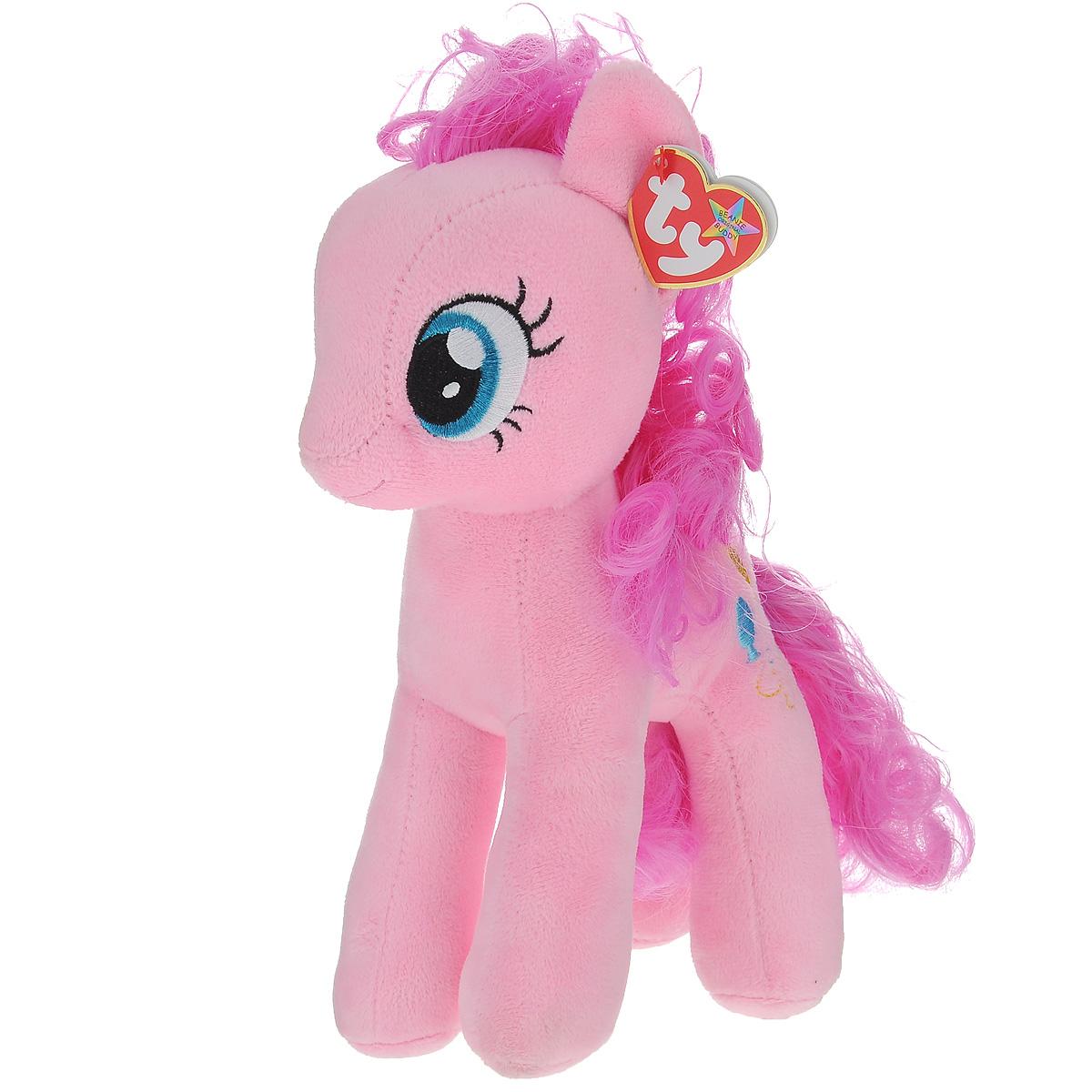 Мягкая игрушка TY Пони Pinkie Pie, 25 см90200Мягкая игрушка TY Пони Pinkie Pie выполнена в виде очаровательной розовой пони с элегантным длинным хвостом и гривой. Грива и хвостик выполнены из мягкого текстиля, их можно заплетать и расчесывать. Игрушка имеет специальные уплотнения в ногах, что позволяет ей стоять самостоятельно, без опоры. Удивительно мягкая игрушка принесет радость и подарит своему обладателю мгновения нежных объятий и приятных воспоминаний. Специальные гранулы, используемые при ее набивке, способствуют развитию мелкой моторики рук малыша. Великолепное качество исполнения делают эту игрушку чудесным подарком к любому празднику.