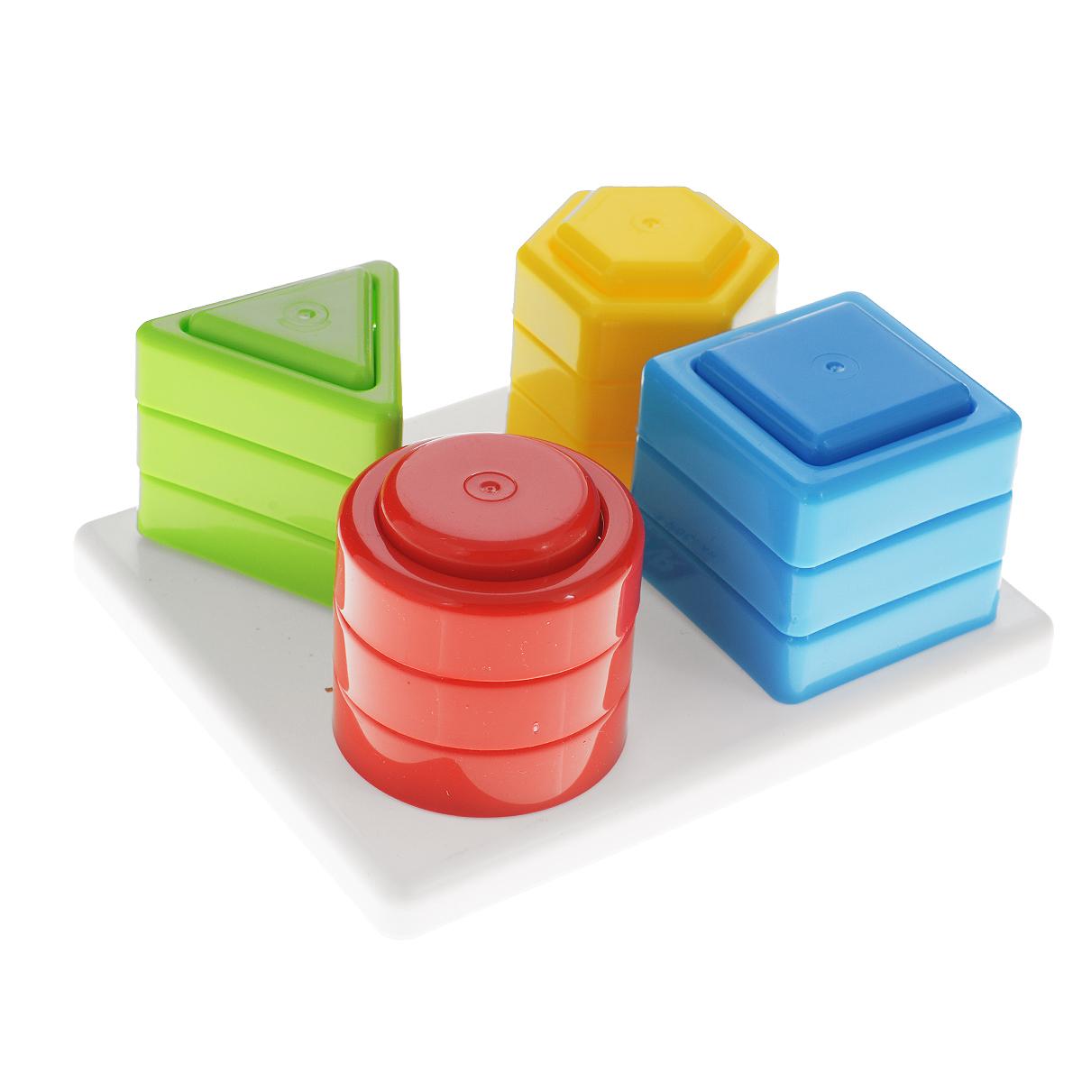 Развивающая игрушка Stellar Чудо-пирамидка01327Развивающая игрушка Stellar Чудо-пирамидка выполнена из полипропилена в виде прямоугольного основания с расположенными на нем четырьмя колышками, на которые по принципу пирамидки нанизываются разноцветные элементы. Собирается по принципу сортера. Каждый колышек имеет форму геометрической фигуры: шестиугольника, треугольника, круга, квадрата. Каждому из кольев соответствуют три элемента одного цвета. Задача малыша состоит в том, чтобы правильно подобрать подходящую фигуру, отверстие в которой совпадет с формой штырька. Комплект включает основание и 12 элементов в виде геометрических фигур. Развивающая игрушка Stellar Чудо-пирамидка поможет малышу в развитии цветового восприятия, мелкой моторики рук, координации движений, логического и пространственного мышления. Уважаемые клиенты! Обращаем ваше внимание на ассортимент в цвете товара. Основные цвета: зеленый, красный, синий, желтый. Детали могут приходить в разных вариациях. Поставка возможна в...
