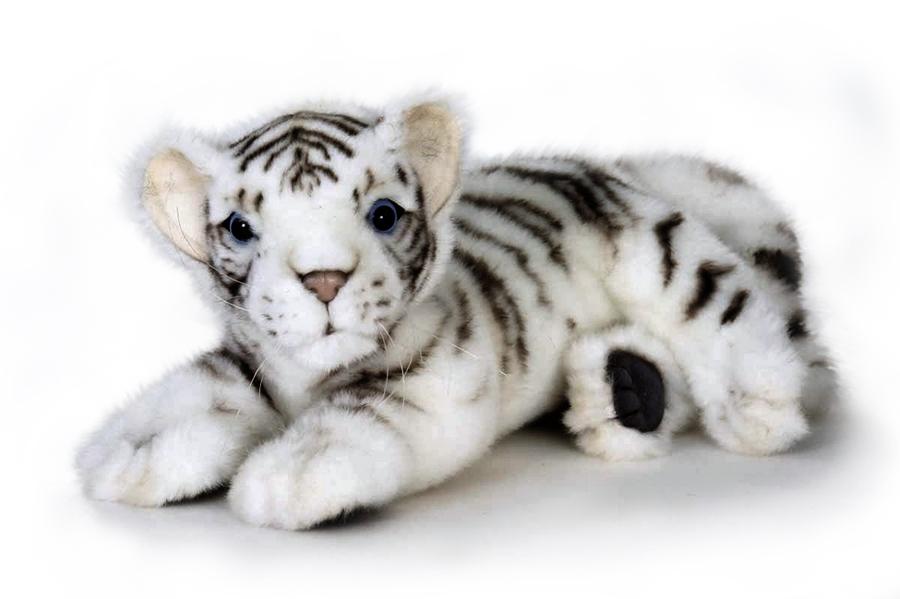 HANSA 5337 Белый тигренок лежащий, 26 см5337