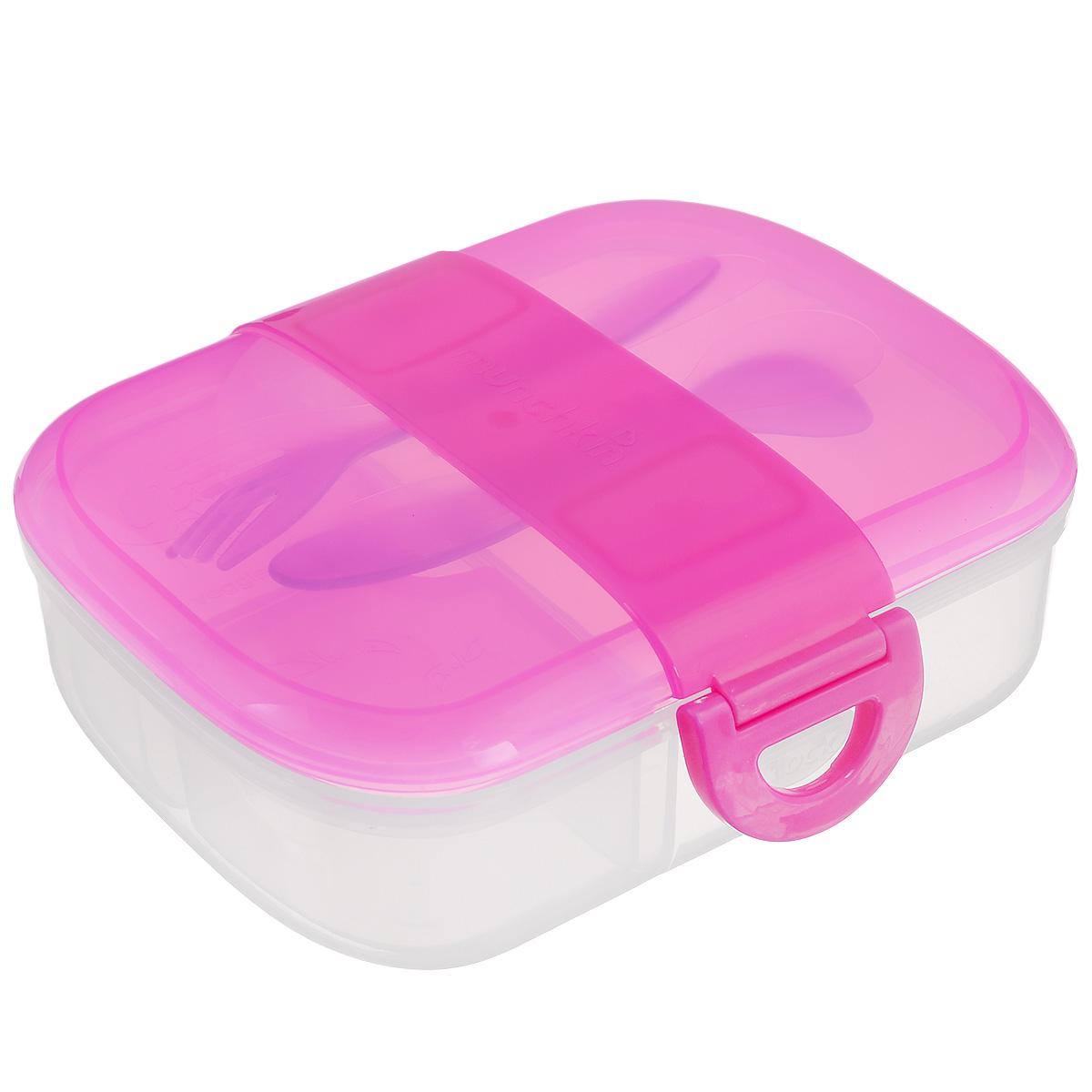 Контейнер для еды Munchkin, с приборами, цвет: розовый11402_розовыйКонтейнер для еды Munchkin выполнен из пластика и не содержит бисфенол А. Бокс для завтрака с отделениями не позволяет пище смешиваться. Контейнер идеально подходит для однодневных поездок, детского сада и дошкольных учреждений. Внутри бокс разделен на секции таким образом, чтобы для всего нашлось удобное место, а на дне контейнера можно написать имя ребенка. Крышка с блокировкой помогает предотвратить разливы и рассыпание продуктов. В комплекте имеются приборы: ложка и вилка. Приборы удобно крепятся на крышку контейнера. Начиная с 3-х лет ребенок может пользоваться боксом самостоятельно. Можно мыть на верхней полке посудомоечной машины. Длина приборов: 14 см. Размер съемных отделений: 6,5 см х 6,5 см х 4,5 см. Размер основного отделения: 11,5 см х 13,5 см х 4,5 см.
