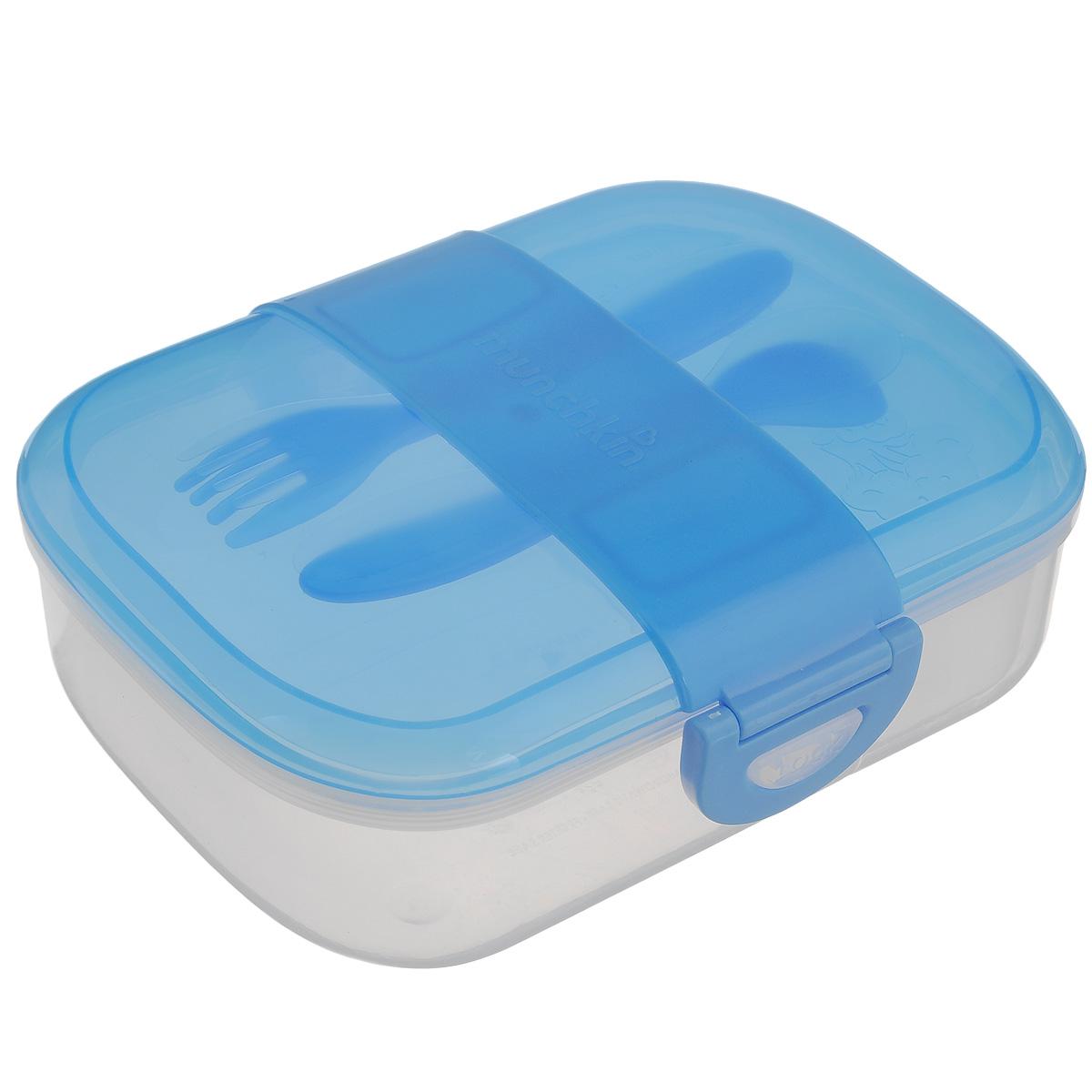 Контейнер для еды Munchkin, с приборами, цвет: голубой