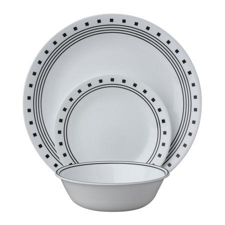 Набор посуды City Block 12пр, цвет: белый с узором1114092Преимуществами посуды Corelle являются долговечность, красота и безопасность в использовании. Вся посуда Corelle изготавливается из высококачественного ударопрочного трехслойного стекла Vitrelle и украшена деколями американских и европейских дизайнеров. Рисунки не стираются и не царапаются, не теряют свою яркость на протяжении многих лет. Посуда Corelle не впитывает запахов и очень долгое время выглядит как новая. Уникальная эмаль, используемая во время декорирования, фактически становится единым целым с поверхностью стекла, что гарантирует долгое сохранение нанесенного рисунка. Еще одним из главных преимуществ посуды Corelle является ее безопасность. В производстве используются только безопасные для пищи пигменты эмали, при производстве посуды не применяется вредный для здоровья человека меламин. Изделия из материала Vitrelle:...