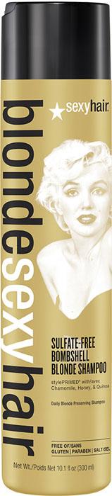 Sexy Hair Шампунь для сохранения цвета без сульфатов Sulfate-free Bombshell Blonde Shampoo, 300 мл39BOMSHA10Роскошный Шампунь для ежедневного ухода для осветленных, мелированных и седых волос. Специально разработанная технология Perfect-Balance Technology с экстрактом ромашки, меда и киноа поддерживает яркость и блеск цвета, укрепляет и увлажняет волосы, защищает от повреждений и выгорания. Стимулирует рост волос. Без сульфатов, глютена, парабенов, солей
