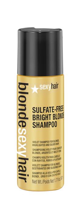 Sexy Hair Шампунь корректирующий Сияющий Блонд без сульфатов, Sulfate-free bright blonde shampoo, 50 мл39BRISHA01Этот роскошный корректирующий шампунь идеален для осветленных, мелированных и седых волос. Фиолетовый пигмент шампуня убирает нежелательные желтые и медные оттенки, предотвращает появление теплых оттенков. Специально разработанная технология Perfect-Balance Technology с экстрактом ромашки, меда и киноа увлажняет и укрепляет волосы, придает сияние. Без сульфатов, глютена, парабенов, солей.