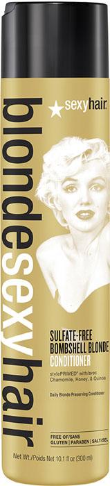 Sexy Hair Кондиционер для сохранения цвета без сульфатов, BLSH Bombshell Blonde Conditioner, 300 мл39CON10Роскошный Кондиционер для ежедневного ухода для осветленных, мелированных и седых волос. Укрепляет волосы, защищает от повреждений и появления секущихся кончиков. Специально разработанная технология Perfect-Balance Technology с экстрактом ромашки, меда и киноа смягчает, увлажняет волосы, предохраняет от выгорания, делает волосы мягкими и сияющими. Без сульфатов, глютена, парабенов, солей.