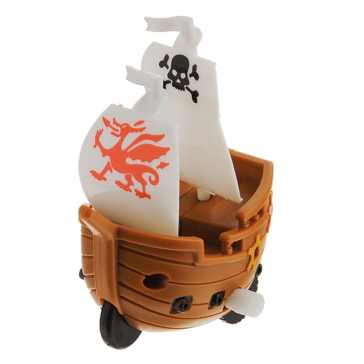 Игрушка заводная Корабль. Флаг с драконом, цвет: коричневый2K-P1XBDИгрушка Hans Корабль. Флаг Флаг с драконом привлечет внимание вашего малыша и не позволит ему скучать! Выполненная из безопасного пластика, игрушка представляет собой пиратский корабль. Игрушка имеет механический завод. Для запуска, придерживая колеса, поверните заводной ключ по часовой стрелке до упора. Установите игрушку на поверхность и она поедет вперед. Игра с заводными игрушками способствует приятному времяпрепровождению, стимулирует ребенка к активным действиям, научит устанавливать причинно-следственные связи. Мелкие детали и разнофактурные материалы благоприятствуют развитию тактильных ощущений и моторики пальчиков, а яркие цвета и забавные формы стимулируют зрение.