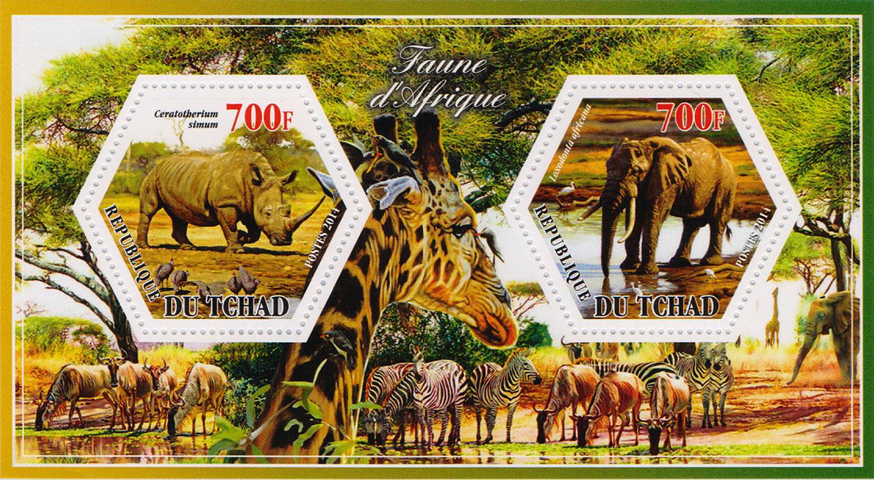 Почтовый блок Носорог и слон из серии Фауна Африки. Чад, 2014 год401306Почтовый блок Носорог и слон из серии Фауна Африки. Чад, 2014 год. Размер блока: 8 х 14 см. Размер марок: 4 х 4.5 см. Сохранность хорошая.