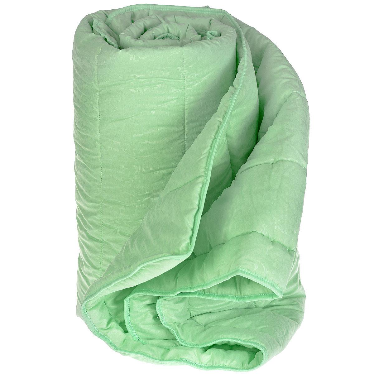 Одеяло облегченное Miotex Бамбук, наполнитель: волокно бамбука, цвет: фисташковый, 172 см х 205 смМБМ-18-2ССтеганый чехол облегченного одеяла Miotex Бамбук выполнен из полиэстера с набивным рисунком. Наполнитель - волокно на основе бамбука. Одеяло обладает всеми полезными свойствами бамбукового волокна - не накапливает пыль и запахи. Не теряет своих качеств при многократных стирках. Стежка равномерно удержит наполнитель в чехле, а окантовка держит форму изделия. Легкое летнее одеяло, за которым легко ухаживать. Подходит людям, страдающим аллергией и астмой, так как совершенно гипоаллергенно. Рекомендации по уходу: - Стирать при температуре не более 30°С, - Нельзя отбеливать. При стирке не использовать средства, содержащие отбеливатели (хлор), - Не гладить. Не применять обработку паром, - Нельзя выжимать и сушить в стиральной машине. Материал чехла: 100% полиэстер. Наполнитель: бамбуковое волокно. Плотность наполнителя: 200 г/м2.