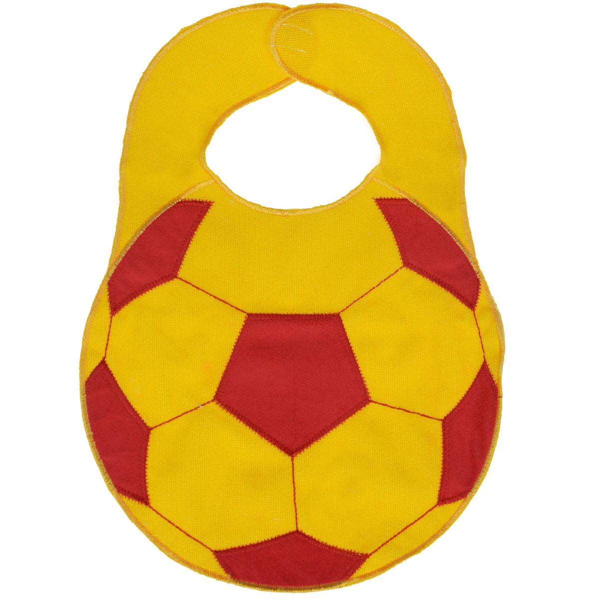 """Нагрудник Sevi Baby """"Футбольный мяч"""", цвет: желтый, красный, 23 см х 32 см"""