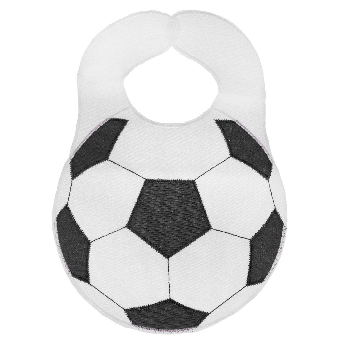 Нагрудник Sevi Baby Футбольный мяч, цвет: белый, черный, 23 см х 32 см573 sevi babyНагрудник Sevi Baby в виде футбольного мяча прекрасно подойдет для кормления ребенка. Нагрудник выполнен из натуральной экологически чистой махровой ткани с вставками из полиэстера. Махра отлично впитывает влагу и отличается гипоаллергенными свойствами. Обратная сторона нагрудника изготовлена из полиуретана, она не промокает, поэтому одежда малыша останется сухой, даже если он что-то пролил на себя. Нагрудник оснащен застежкой-кнопкой. Sevi Baby - это одежда для самых маленьких, созданная с пониманием и заботой о комфорте и здоровье ребенка!