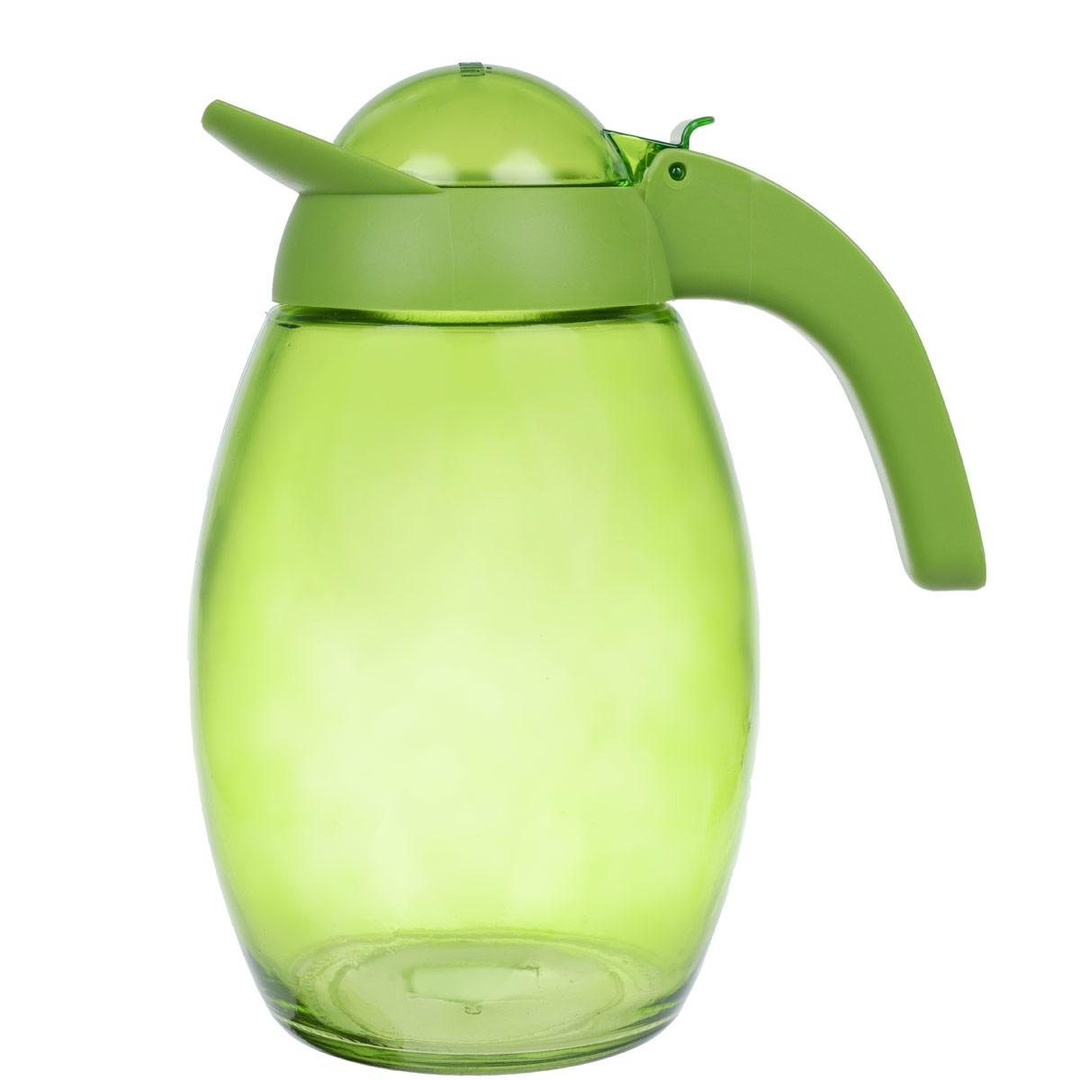 Кувшин Herevin с крышкой, цвет: зеленый, 1,6 л. 111311111311-000Кувшин Herevin, выполненный из высококачественного прочного стекла, элегантно украсит ваш стол. Кувшин оснащен удобной ручкой и завинчивающейся пластиковой крышкой. Благодаря этому внутри сохраняется герметичность, и напитки дольше остаются свежими. Кувшин прост в использовании, достаточно просто наклонить его и налить ваш любимый напиток. Цветная крышка оснащена откидным механизмом для более удобного заливания жидкостей. Изделие прекрасно подойдет для подачи воды, сока, компота и других напитков. Кувшин Herevin дополнит интерьер вашей кухни и станет замечательным подарком к любому празднику. Диаметр (по верхнему краю): 6 см. Высота кувшина (без учета крышки): 18,5 см.