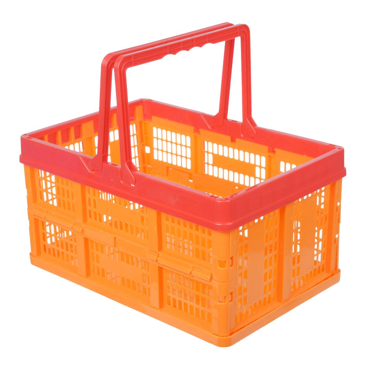 Ящик универсальный Альтернатива, раскладной, цвет: красный, оранжевый, 38,5 х 25,5 х 21 смM1834Универсальный ящик Альтернатива изготовлен из высококачественного пластика. Ящик предназначен для хранения и транспортировки овощей. Он оснащен ручками для переноски. При необходимости ящик можно сложить. Ящик компактный, он не займет много места. Универсальный ящик Альтернатива станет незаменимым дома или на даче. Размер ящика (ДхШхВ): 38,5см х 25,5 см х 21 см.