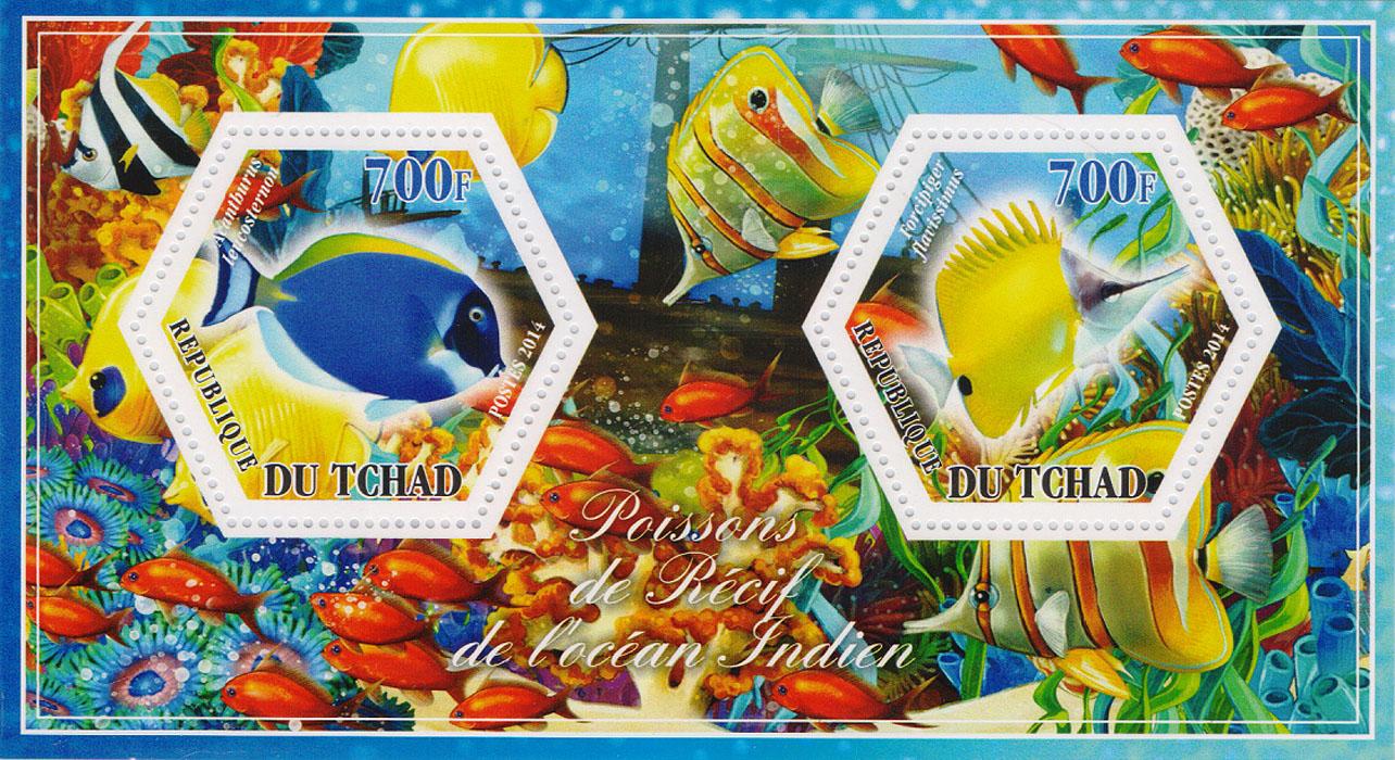 Почтовый блок Рифовые рыбы Индийского океана №1. Чад, 2014 год401306Почтовый блок Рифовые рыбы Индийского океана №1. Чад, 2014 год. Размер блока: 8 х 14 см. Размер марок: 4 х 4.5 см. Сохранность хорошая.