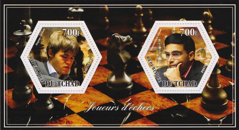 Почтовый блок Игроки в шахматы №1. Чад, 2014 год401306Почтовый блок Игроки в шахматы №1. Чад, 2014 год. Размер блока: 8 х 14 см. Размер марок: 4 х 4.5 см. Сохранность хорошая.
