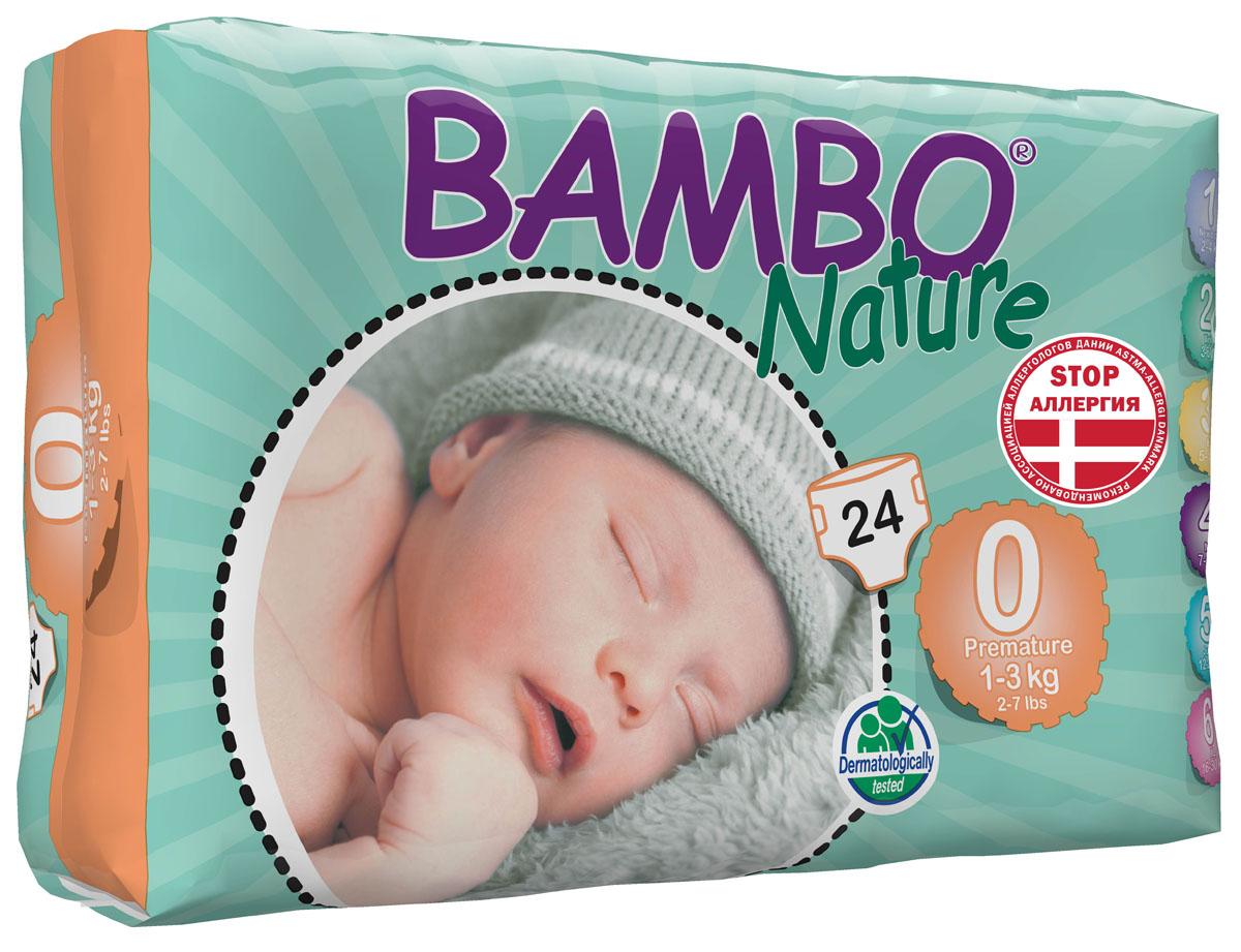 Bambo Nature Подгузники детские одноразовые, Premature, 1-3 кг, 24 шт310130Подгузники и трусики Bambo Nature содержат мягкую тканевидную заднюю часть и внутренний слой, что делает их исключительно нежными для кожи малыша. Они тоньше обычных подгузников, а воздухопроницаемый слой позволяет коже дышать, исключая «парниковый эффект». В перечень восхитительных свойств подгузников Bambo Nature также входят и эластичные боковые вставки. Супер-слой распущенная целлюлоза и сверх-сухая система обеспечивает быстрое впитывание и оставляет поверхность сухой. Поэтому для вас и вашего малыша каждое утро будет добрым. Bambo Nature - одни из наиболее экологически чистых подгузников на рынке. В перечень восхитительных свойств подгузников Bambo Nature также входят и эластичные боковые вставки. Проверено дерматологами.