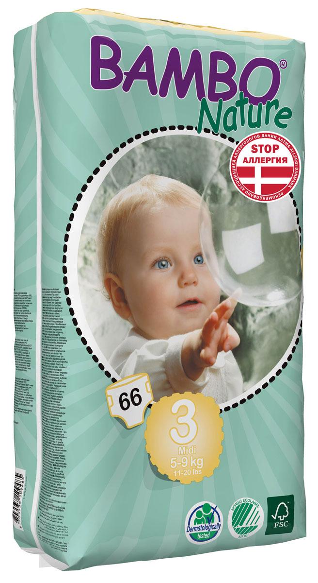 Bambo Nature Подгузники детские одноразовые Midi, 5-9 кг, 66 шт310143Подгузники и трусики Bambo Nature содержат мягкую тканевидную заднюю часть и внутренний слой, что делает их исключительно нежными для кожи малыша. Они тоньше обычных подгузников, а воздухопроницаемый слой позволяет коже дышать, исключая «парниковый эффект». В перечень восхитительных свойств подгузников Bambo Nature также входят и эластичные боковые вставки. Супер-слой распущенная целлюлоза и сверх-сухая система обеспечивает быстрое впитывание и оставляет поверхность сухой. Поэтому для вас и вашего малыша каждое утро будет добрым. Bambo Nature - одни из наиболее экологически чистых подгузников на рынке. В перечень восхитительных свойств подгузников Bambo Nature также входят и эластичные боковые вставки. Проверено дерматологами.