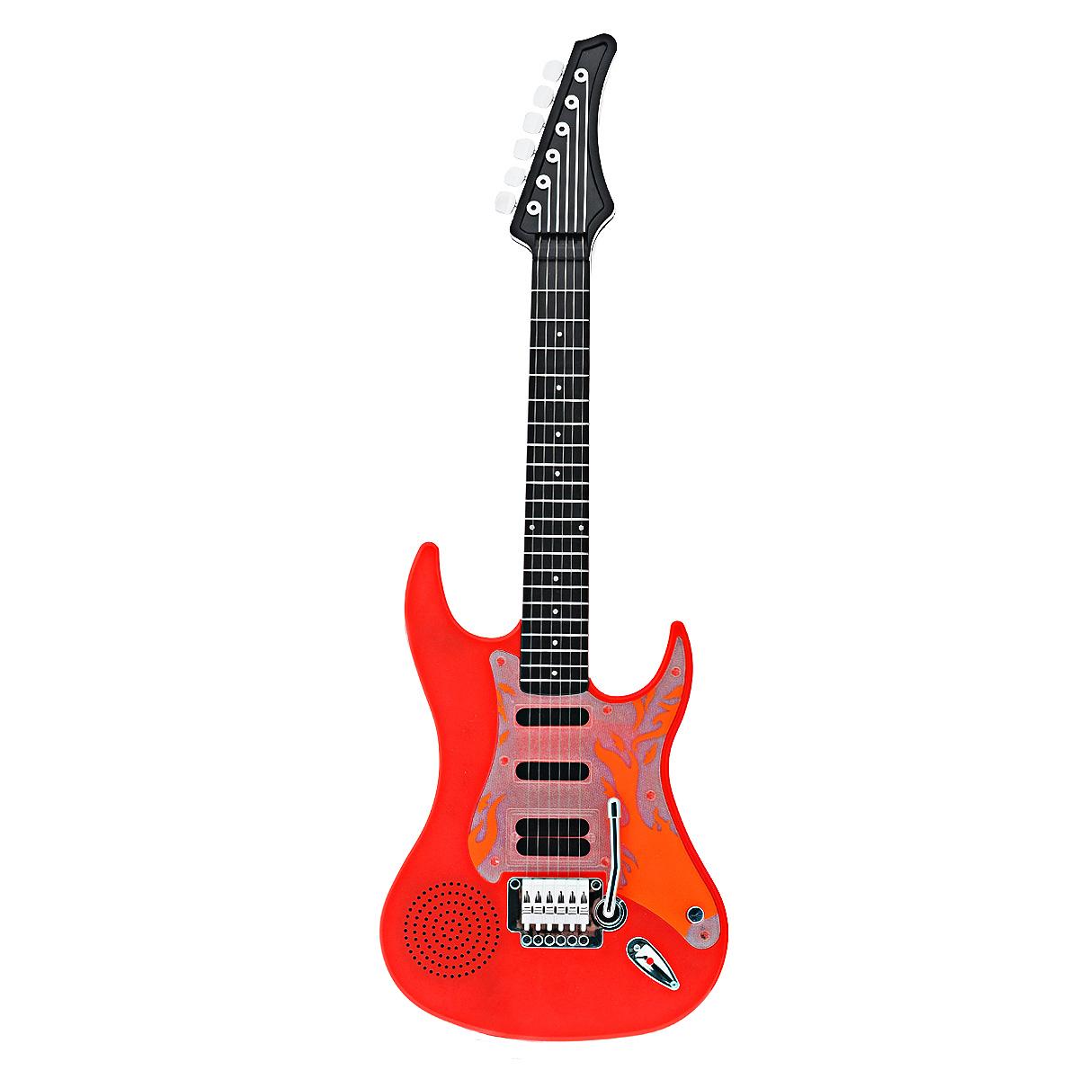 Игрушка музыкальная Genio Kids Рок-гитара, цвет: красныйPG89_красныйМузыкальная игрушка Genio Kids Рок-гитара непременно понравится вашему ребенку и не позволит ему скучать. Она выполнена из прочного яркого пластика и оснащена световыми и звуковыми эффектами. Особенности гитары: 6 металлических струн; подсветка в такт музыке; разъем 3,5 мм для аксессуаров; кнопка старт для начала проигрывания мелодии; при касании струн в такт основному ритму проигрываются различные звуки.Игрушка снабжена текстильным ремнем для более удобной игры; встроенный ремешок для переноски на плече. Игрушка Genio Kids Рок-гитара поможет ребенку развить звуковое восприятие, музыкальный слух, мелкую моторику рук и координацию движений. С такой игрушкой ваш ребенок порадует вас замечательным концертом! Рекомендуется докупить 3 батарейки напряжением 1,5V типа АА (товар комплектуется демонстрационными).