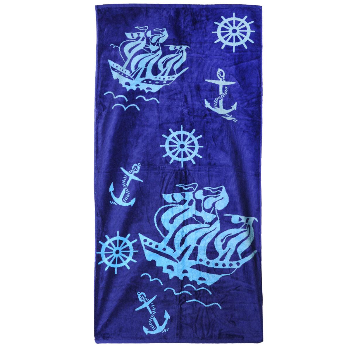 Полотенце пляжное Osborn Textile Якоря, цвет: синий, 70 х 140 смУзТ-ВП-002-02-06Пляжное полотенце Osborn Textile Якоря, изготовленное из 100% натурального хлопка с морской тематикой, добавит романтического настроения во время отпуска. Благодаря мягкому хлопку высочайшего качества полотенце мгновенно впитывает в себя большой объем воды. Одна сторона полотенца выполнена из велюровой ткани, вторая - из махровой. Пусть это полотенце станет вашим любимым аксессуаром! Красота и качество сделают его отличным подарком как милым дамам, так и мужчинам. Плотность: 450 г/м2.