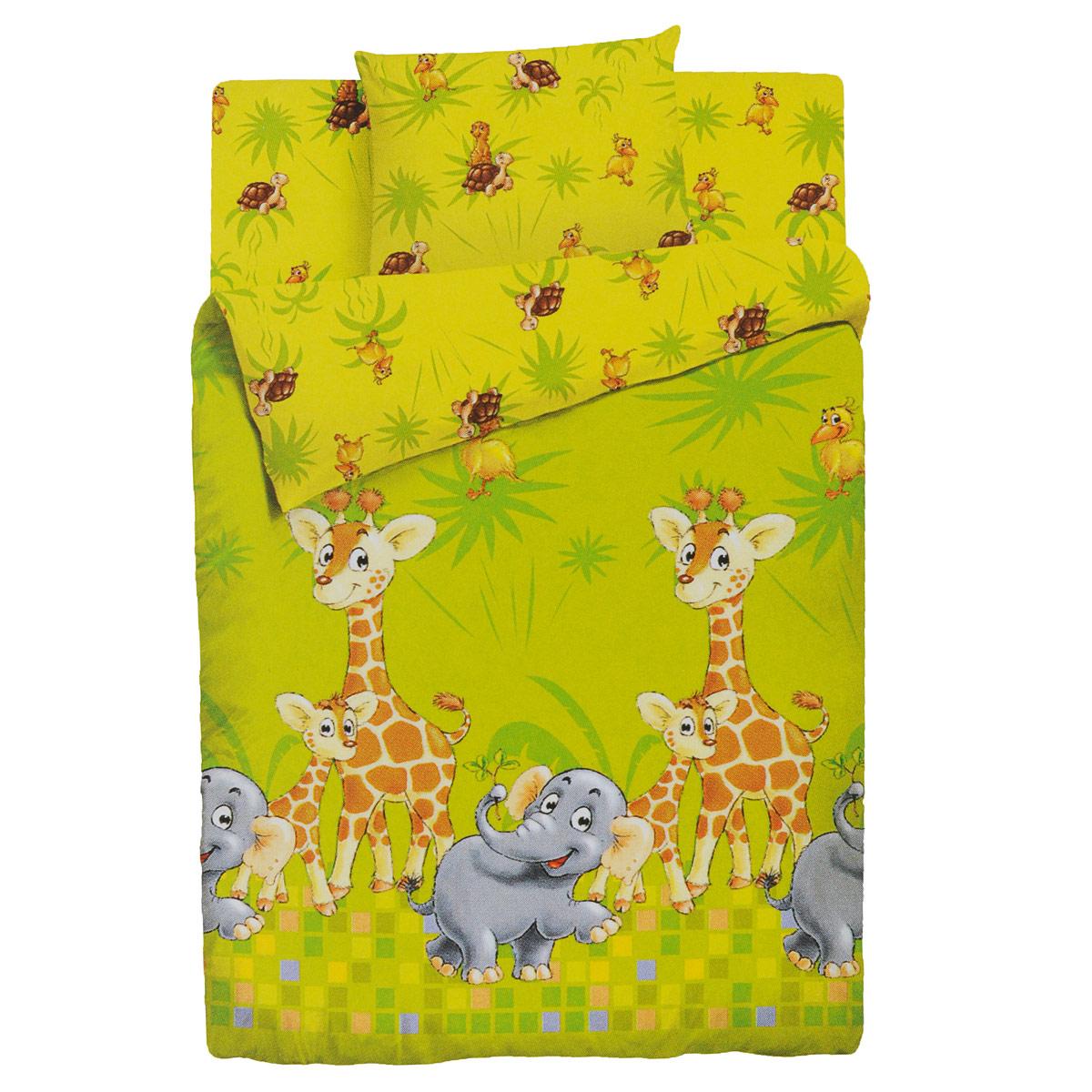 Комплект детского постельного белья Облачко Джунгли, цвет: желтый, 3 предмета. 46000017847094600001784709Детский комплект постельного белья Облачко Джунгли состоит из наволочки, пододеяльника и простыни на резинке. Такой комплект идеально подойдет для кроватки вашего малыша и обеспечит ему здоровый сон. Он изготовлен из бязи (100% хлопок), дарящей малышу непревзойденную мягкость. Натуральный материал не раздражает даже самую нежную и чувствительную кожу ребенка, обеспечивая ему наибольший комфорт. Простыня с помощью специальной резинки растягивается на матрасе. Она не сомнется и не скомкается, как бы не вертелся ребенок. Приятный рисунок комплекта, несомненно, понравится малышу и привлечет его внимание. На постельном белье Облачко Джунгли ваша кроха будет спать здоровым и крепким сном.