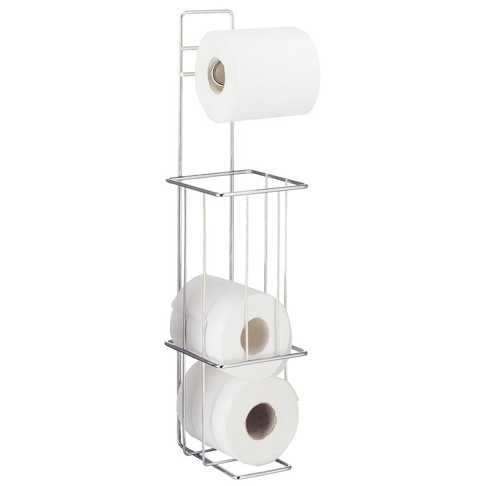 Напольный держатель туалетной бумаги Tatkraft Lager, для 4 рулонов13308Держатель туалетной бумаги Tatkraft Lager изготовлен из нержавеющей стали с хромированным покрытием. Держатель предназначен для 4 рулонов туалетной бумаги. Благодаря компактным размерам, держатель не займет много места. Его можно поставить на пол, а при необходимости прикрепить к стене. Размер держателя: 14,5 см х 14,5 см. Высота: 56,5 см.