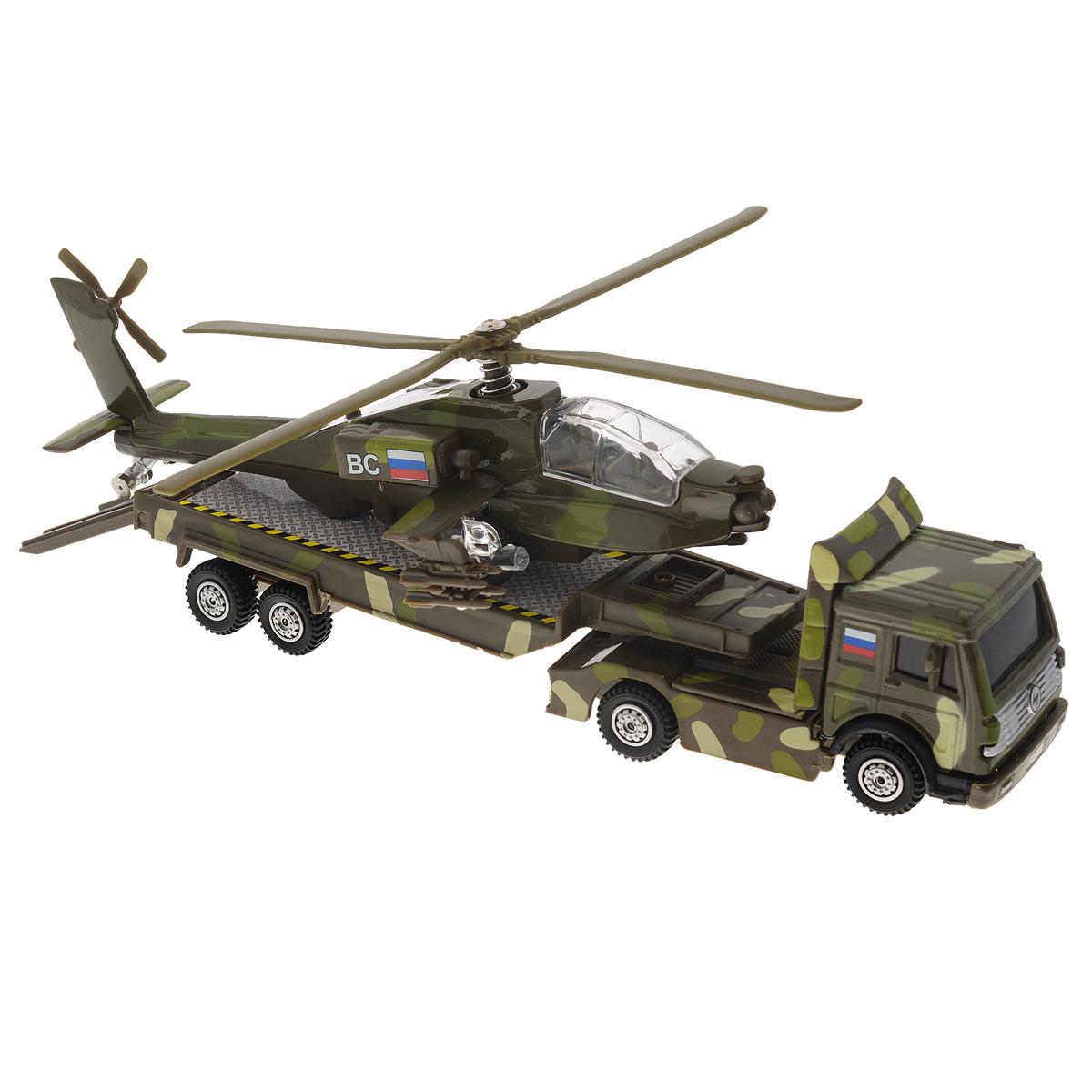 ТехноПарк Игровой набор Вооруженные силыCT10-037-3Игровой набор ТехноПарк Вооруженные силы включает 2 уменьшенных реалистичных копии военной техники: трейлер и вертолет. Модели отличаются высоким качеством исполнения и детализации. Корпус моделей выполнен из металла с элементами из пластика, стекла вертолета - из прочного прозрачного пластика. При нажатии кнопки на корпусе вертолета прозвучат звуки стрельбы и загорятся огоньки в кабине пилота и под крыльями. Прицеп трейлера отсоединяется. Колесики машинки и вертолета крутятся; несущий и хвостовые винты вертолета подвижны. Ваш ребенок часами будет играть с набором, придумывая различные истории. Порадуйте его таким замечательным подарком! Вертолет работает от 3 батареек напряжением 1,5V типа LR41 (товар комплектуется демонстрационными).