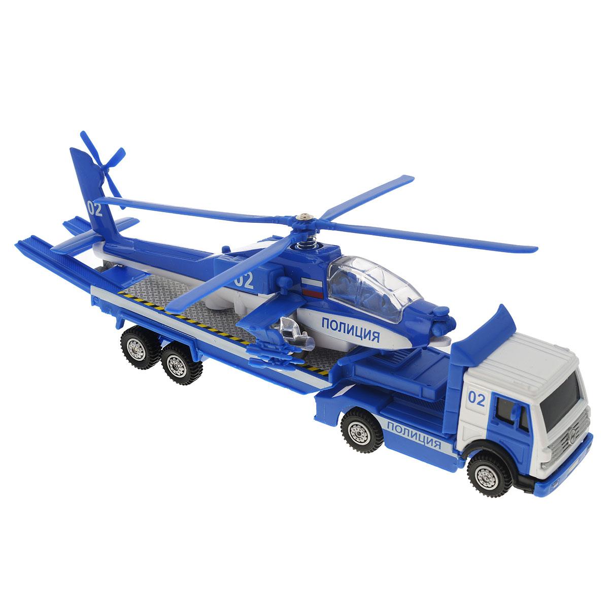 ТехноПарк Игровой набор ПолицияCT10-037-2Игровой набор ТехноПарк Полиция включает 2 уменьшенных реалистичных копии военной техники: трейлер и вертолет. Модели отличаются высоким качеством исполнения и детализации. Корпус моделей выполнен из металла с элементами из пластика, стекла вертолета - из прочного прозрачного пластика. При нажатии кнопки на корпусе вертолета прозвучат звуки летящего вертолета и фраза пилота, а также загорятся огоньки в кабине пилота и под крыльями. Прицеп трейлера отсоединяется. Колесики машинки и вертолета крутятся; несущий и хвостовые винты вертолета подвижны. Ваш ребенок часами будет играть с набором, придумывая различные истории. Порадуйте его таким замечательным подарком! Вертолет работает от 3 батареек напряжением 1,5V типа LR41 (товар комплектуется демонстрационными).