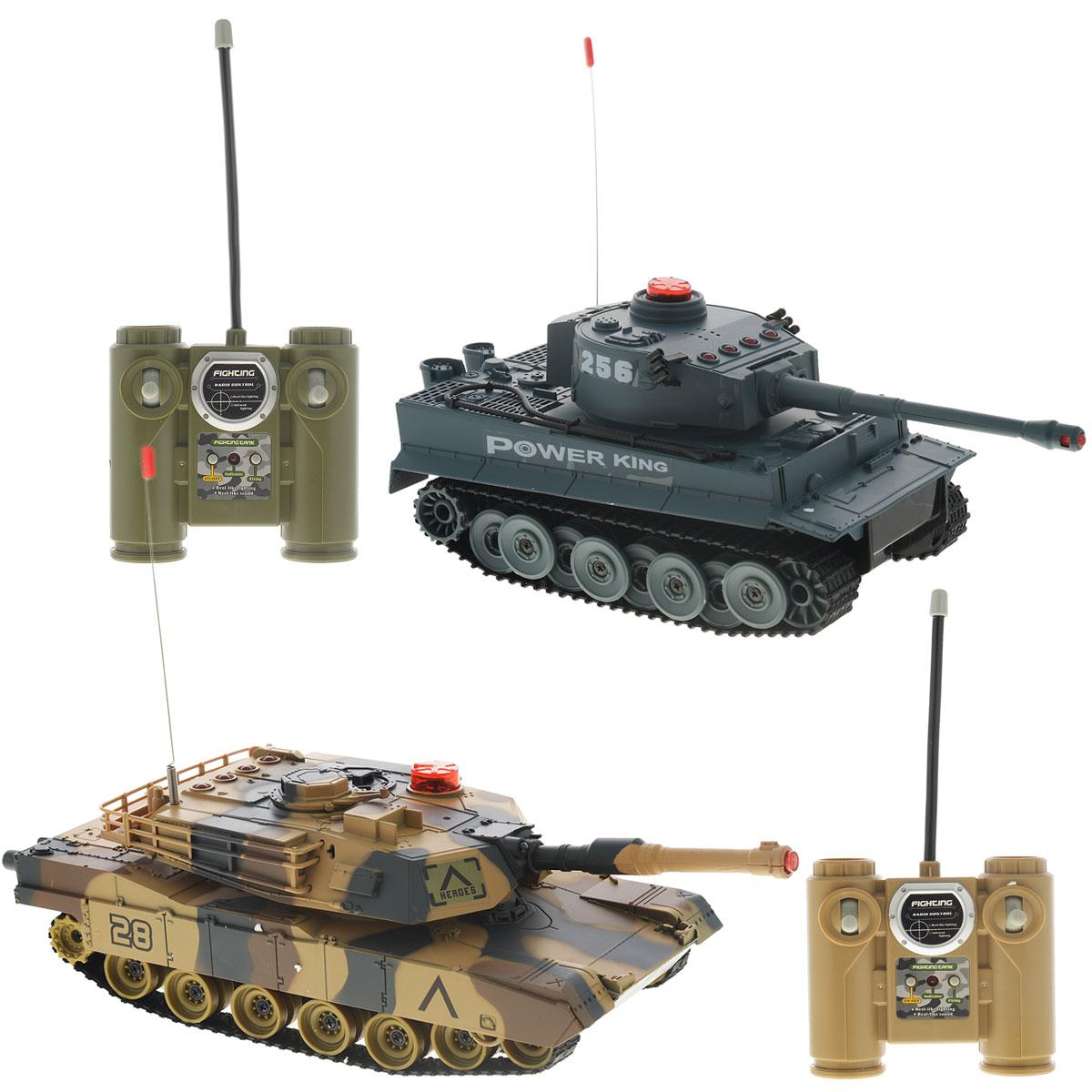 1TOY Набор танков на радиоуправлении Танковый бой 508-10508-10Игровой набор Танковый бой со световыми и звуковыми эффектами, состоящий из двух миниатюрных танков с полнофункциональным управлением и инфракрасным наведением, привлечет внимание не только ребенка, но и взрослого и станет отличным подарком любителю военной техники. Набор состоит из двух танков, двух пультов управления, аккумуляторов и зарядных устройств. Основные направления движения танков: вперед-назад, вправо-влево, поворот на месте. Башня поворачивается направо и налево. Танки оснащены индикатором количества выстрелов. Танки изготовлены из современных прочных материалов, устойчивых к небольшим крушениям. Для большей реалистичности модели оснащены световыми и звуковыми эффектами. Танки работают от аккумуляторов, зарядка которых производится от зарядного устройства, подключающегося к электрической сети.