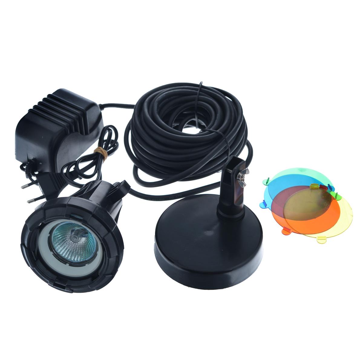 Лампа для подводного освещения Aquael, с трансформатором, 5 цветов. L20L20Лампа Aquael выполнена из прочного пластика черного цвета и предназначена для подводного освещения водоемов или аквариумов. Лампа устанавливается на специальную подставку. Особенности лампы Aquael: - дает точечный свет; - пять цветов свечения: белый, желтый, красный, зеленый, голубой; - питание от трансформатора 11,6-12V; - трехметровый кабель питания с быстродействующим соединением обеспечивает легкое присоединение в любом месте на электропроводе низкого напряжения; - галогенная лампа 12В 20Вт. Размер лампы (без подставки): 10 см х 9,5 см х 9,5 см.