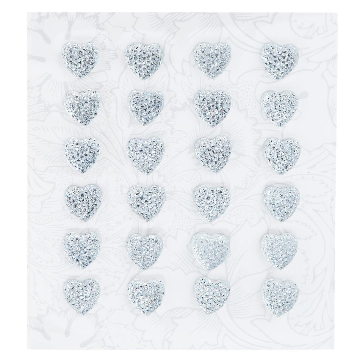 Наклейки декоративные Астра, цвет: серебристый, 12 мм х 12 мм, 24 шт. 77083467708346Декоративные наклейки Астра, изготовленные из пластика, прекрасно подойдут для оформления творческих работ в технике скрапбукинга. Их можно использовать для украшения фотоальбомов, скрап-страничек, подарков, конвертов, фоторамок, открыток и т.д. Объемные наклейки, выполненные в виде сердец, декорированы стразами и оснащены задней клейкой стороной. Скрапбукинг - это хобби, которое способно приносить массу приятных эмоций не только человеку, который этим занимается, но и его близким, друзьям, родным. Это невероятно увлекательное занятие, которое поможет вам сохранить наиболее памятные и яркие моменты вашей жизни, а также интересно оформить интерьер дома. Размер наклейки: 12 мм х 12 мм.