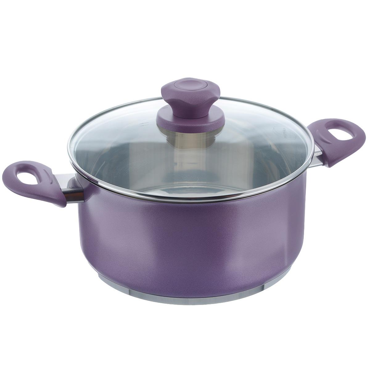 Кастрюля Supra Vasei с крышкой, цвет: фиолетовый, 5 л