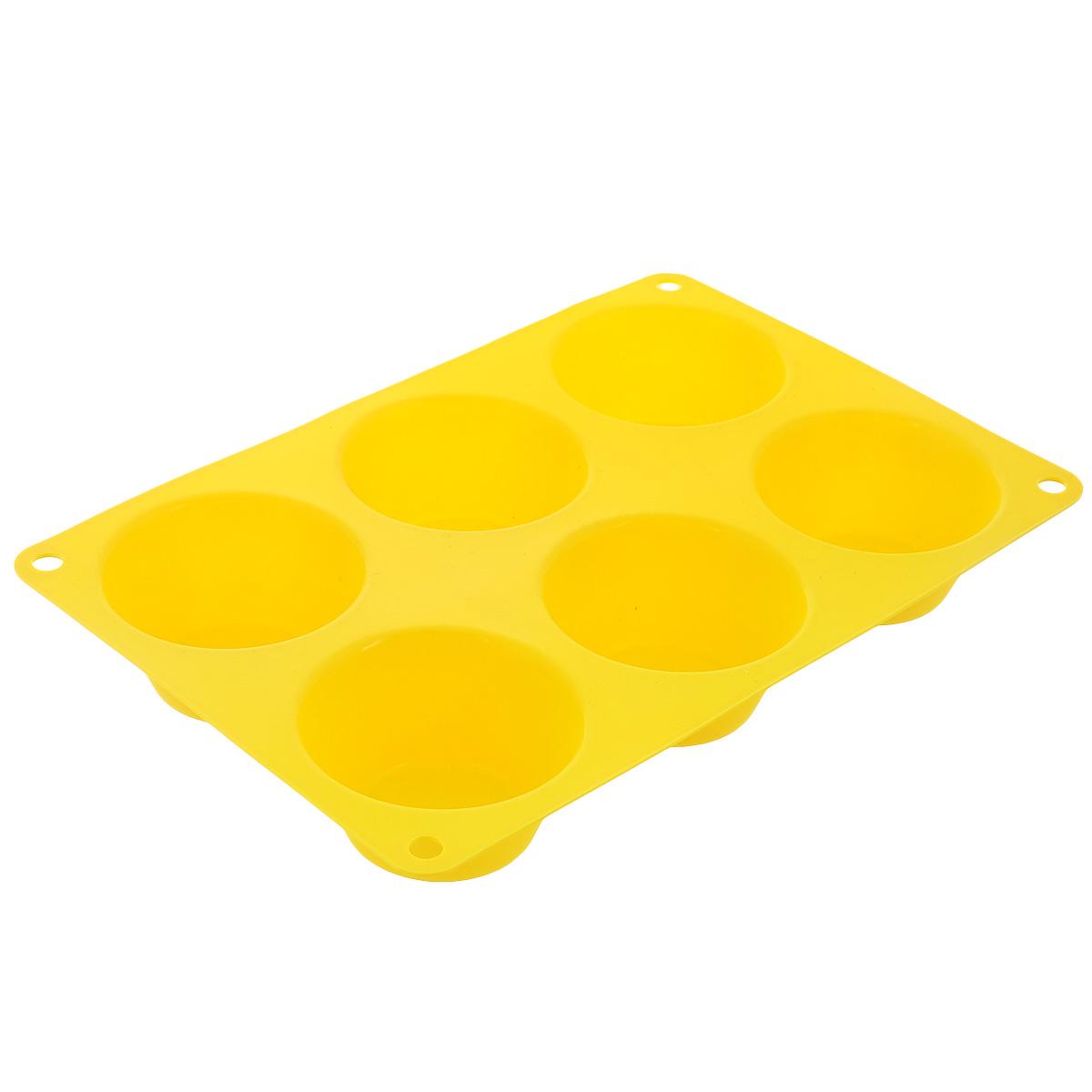 Форма для выпечки маффинов Taller, цвет: желтый, 6 ячеекTR-6200Форма Taller будет отличным выбором для всех любителей выпечки. Благодаря тому, что форма изготовлена из силикона, готовую выпечку или мармелад вынимать легко и просто. Изделие выполнено в форме прямоугольника, внутри которого расположены 6 круглых ячеек. Форма прекрасно подойдет для выпечки маффинов. С такой формой вы всегда сможете порадовать своих близких оригинальной выпечкой. Материал изделия устойчив к фруктовым кислотам, может быть использован в духовках, микроволновых печах, холодильниках и морозильных камерах (выдерживает температуру от -20°C до 220°C). Антипригарные свойства материала позволяют готовить без использования масла. Можно мыть и сушить в посудомоечной машине. При работе с формой используйте кухонный инструмент из силикона - кисти, лопатки, скребки. Не ставьте форму на электрическую конфорку. Не разрезайте выпечку прямо в форме. Количество ячеек: 6 шт. Общий размер формы: 24 см х 16,5 см х 3,5 см. Диаметр ячейки: 7 см. ...
