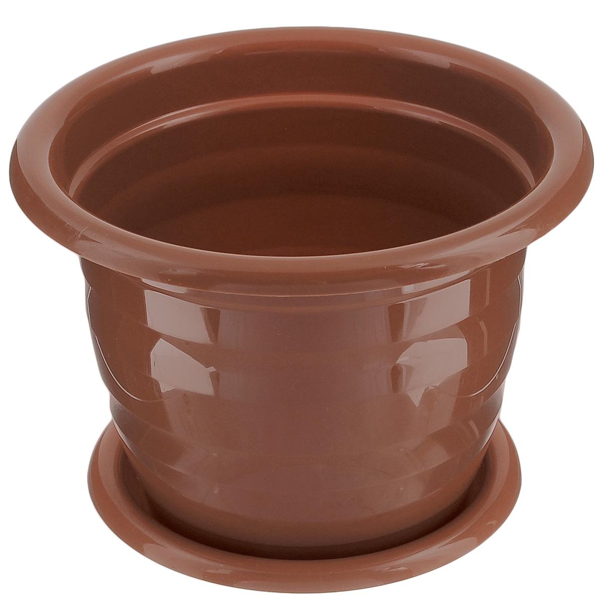 Горшок для цветов Альтернатива Виола, с поддоном, цвет: коричневый, 2 л, диаметр 18 смМ1531Цветочный горшок Альтернатива Виола выполнен из пластика и предназначен для выращивания в нем цветов, растений и трав. Такой горшок порадует вас современным дизайном и функциональностью, а также оригинально украсит интерьер помещения. К горшку прилагается поддон. Объем горшка: 2 л. Диаметр горшка: 18 см. Высота горшка: 15 см. Диаметр поддона: 15 см.
