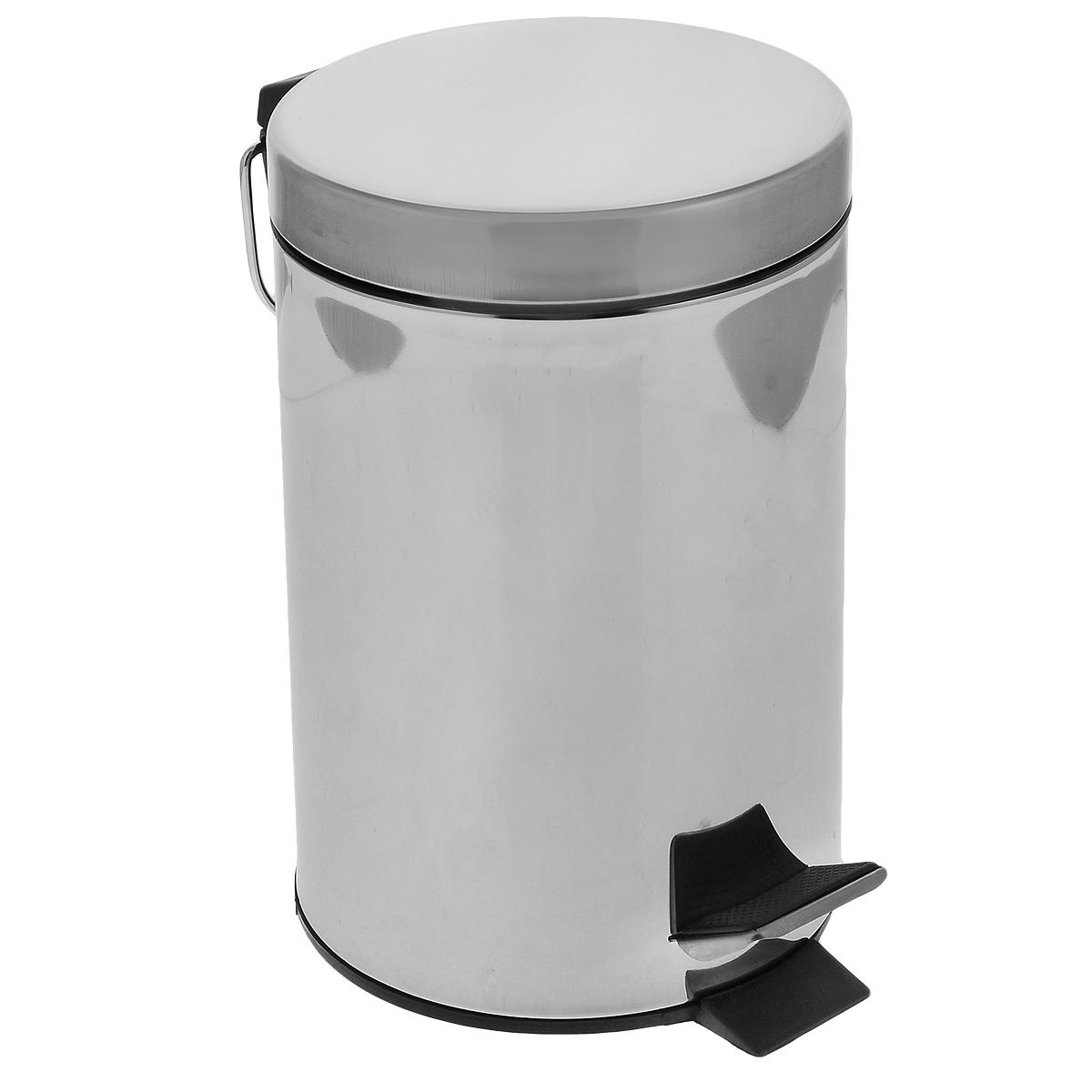 Ведро для мусора Art Moon Moon, с педалью, цвет: серебристый, 3 л691014Круглое ведро для мусора Art Moon Moon, выполненное из нержавеющей стали с отражающей поверхностью, поможет вам держать мусор в порядке и предотвратит распространение неприятного запаха. Ведро оснащено педалью, с помощью которой можно открыть крышку. Закрывается крышка бесшумно, плотно прилегает, предотвращая распространение запаха. Сбоку также имеется металлическая ручка. Внутренняя часть - пластиковое ведерко, оснащенное металлической ручкой для переноса. Нескользящая пластиковая основа ведра предотвращает повреждение пола. Объем: 3 л. Диаметр ведра: 16,5 см. Высота стенки: 26 см.