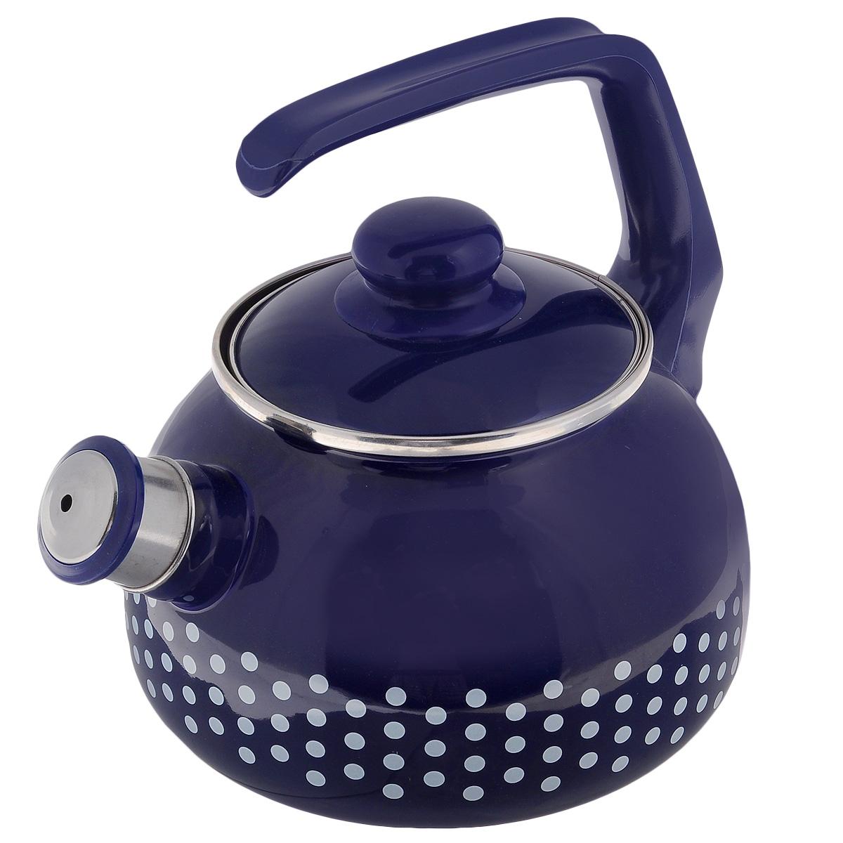 Чайник Metrot Горошек, со свистком, цвет: синий, 2,5 л108669Чайник Metrot Горошек выполнен из высококачественной стали, что обеспечивает долговечность использования. Внешнее цветное эмалевое покрытие придает приятный внешний вид. Бакелитовая фиксированная ручка делает использование чайника очень удобным и безопасным. Чайник снабжен съемным свистком. Можно мыть в посудомоечной машине. Пригоден для всех видов плит, включая индукционные. Высота чайника (без учета крышки и ручки): 13 см. Диаметр (по верхнему краю): 13 см.