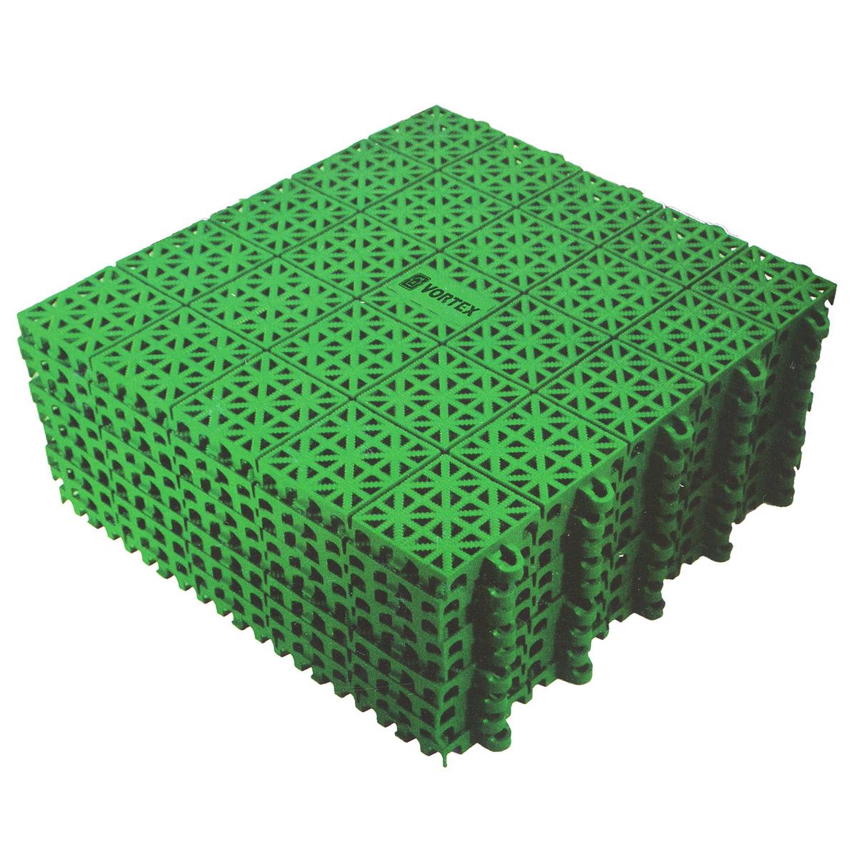 Покрытие Vortex, пластиковое, универсальное, цвет: зеленый, 9 шт5365Универсальное покрытие, выполненное из полипропилена зеленого цвета, устанавливается и удаляется без применения инструментов. Оно укладывается на любую ровную поверхность, допускается ее изношенность и наличие мелких дефектов. Покрытие можно использовать внутри и вне помещений: балкон, мастерская, помещения с повышенной влажностью, ванная комната и душевая, бассейн, каток, кладовая, кемпинг, игровые площадки, складские помещения, торговые площадки, выставки. В помещении уход за покрытием производится с применением пылесоса. Покрытие, установленное вне помещения можно легко промыть водой при помощи шланга. Размер плитки: 33 см х 33 см х 1 см. Размер полученного покрытия: 1 м2