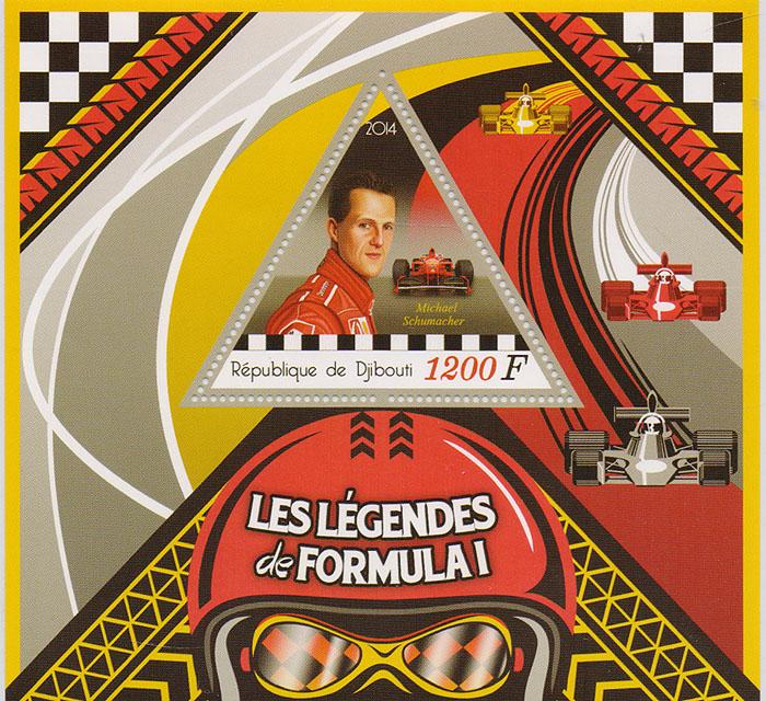 Почтовый блок Михаэль Шумахер из серии Легенды Формулы-1. Джибути, 2014 год401306Почтовый блок Михаэль Шумахер из серии Легенды Формулы-1. Джибути, 2014 год. Размер блока: 11 х 12 см. Размер марки: 5 х 6 см. Сохранность хорошая.