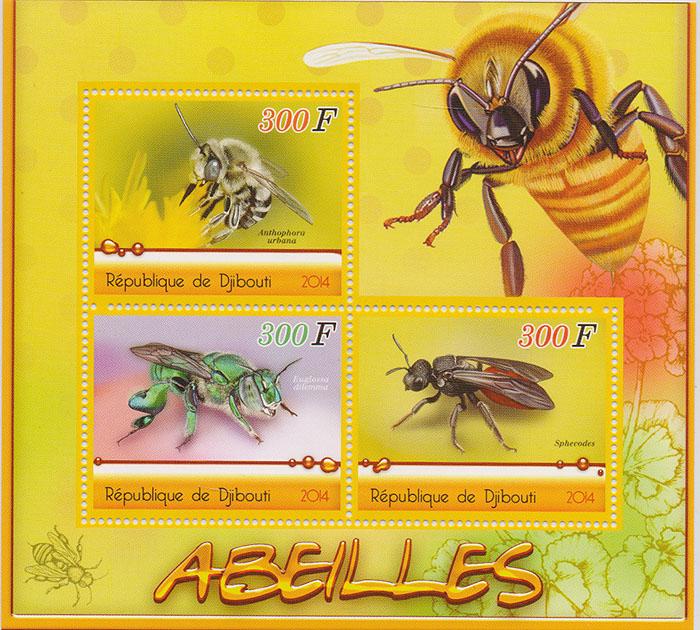 Почтовый блок Пчелы №2. Джибути, 2014 год401306Почтовый блок Пчелы №2. Джибути, 2014 год. Размер блока: 11 х 12 см. Размер марок: 3.5 х 4.5 см. Сохранность хорошая.