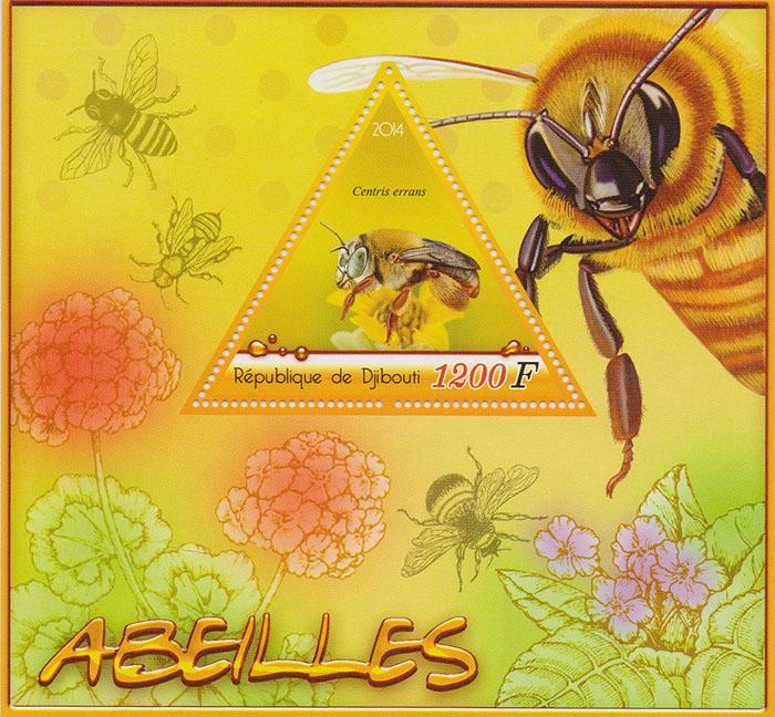 Почтовый блок Пчелы №1. Джибути, 2014 год401306Почтовый блок Пчелы №1. Джибути, 2014 год. Размер блока: 11 х 12 см. Размер марки: 5 х 6 см. Сохранность хорошая.