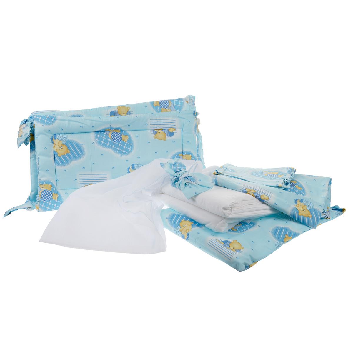 Комплект в кроватку Фея Мишки, цвет: голубой, 7 предметов5558-1Комплект в кроватку Фея Мишки прекрасно подойдет для кроватки вашего малыша, добавит комнате уюта и согреет в прохладные дни. В качестве материала верха использован натуральный 100% хлопок. Мягкая ткань не раздражает чувствительную и нежную кожу ребенка и хорошо вентилируется. Бортик, подушка и одеяло наполнены холлотеком, нетканым материалом, который производится из полых сильно извитых волокон. За счет этого материал приобретает объем, упругость, и особенную мягкость. Балдахин выполнен из легкой прозрачной вуали. Очень важно, чтобы ваш малыш хорошо спал - это залог его здоровья, а значит вашего спокойствия. Комплект Фея Мишки идеально подойдет для кроватки вашего малыша. На нем ваш кроха будет спать здоровым и крепким сном. Комплектация: - бортик (2 х 35 см х 60 см, 2 х 35 см х 120 см); - балдахин (150 см х 300 см); - плоская подушка (40 см х 60 см); - одеяло (110 см х 140 см); - пододеяльник (110 см х 140 см);...