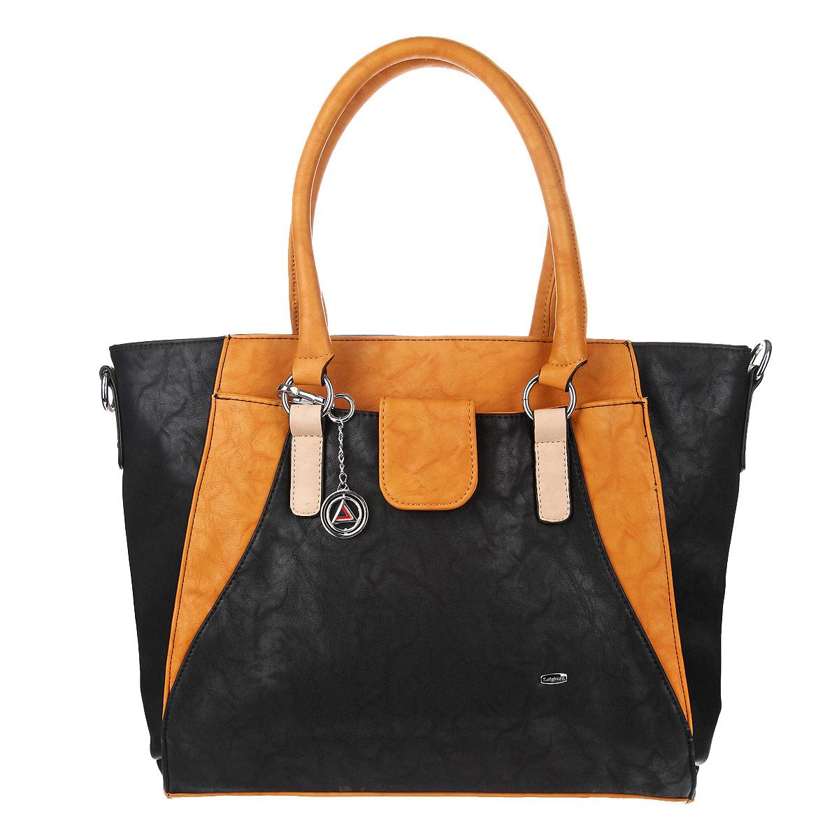 Сумка женская Leighton, цвет: черный, темно-желтый. 580423-6090/1112/811/1112580423-6090/1112/811/1112Оригинальная женская сумка Leighton выполнена из искусственной кожи. Сумка с удобными ручками имеет одно вместительное отделение, закрывающееся на молнию. Внутри отделения расположен смежный карман на молнии, вшитый карман на молнии и два накладных кармашка для мелочей. На задней стороне сумки имеется дополнительный вшитый карман на молнии. На лицевой стороне сумки находится кармашек, который закрывается хлястиком на магнитную кнопку. На дне сумки расположены ножки для лучшей устойчивости. К сумке прилагается чехол для хранения, съемный регулируемый плечевой ремень и брелок с круглой символикой бренда. Сумка - это стильный аксессуар, который подчеркнет вашу изысканность и индивидуальность и сделает ваш образ завершенным. Женская сумочка Leighton - это воплощение элегантности и шика. Высококачественные материалы, чистота линий, как выбор стиля, идут об руку с модными тенденциями. Обладательницей данной коллекции может быть только сильная и...