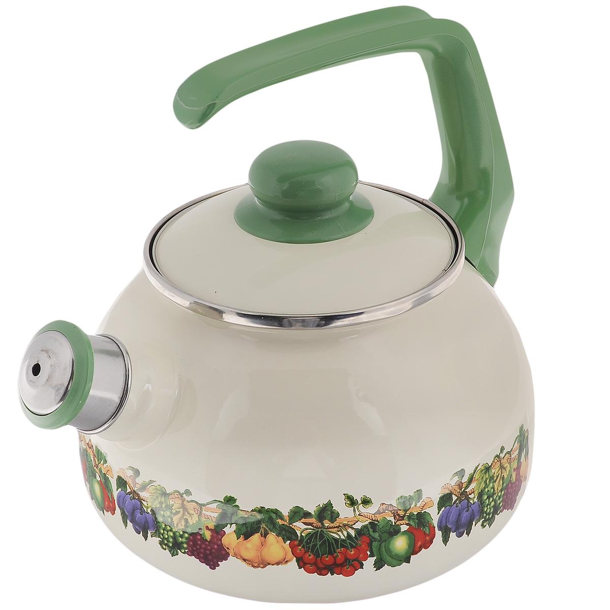 Чайник Metrot Фруктовый сад, со свистком, 2,5 л107112Чайник Metrot Фруктовый сад выполнен из высококачественной стали, что обеспечивает долговечность использования. Внешнее цветное эмалевое покрытие придает приятный внешний вид. Бакелитовая фиксированная ручка делает использование чайника очень удобным и безопасным. Чайник снабжен съемным свистком. Можно мыть в посудомоечной машине. Пригоден для всех видов плит, включая индукционные. Высота чайника (без учета крышки и ручки): 13 см. Диаметр (по верхнему краю): 13 см.