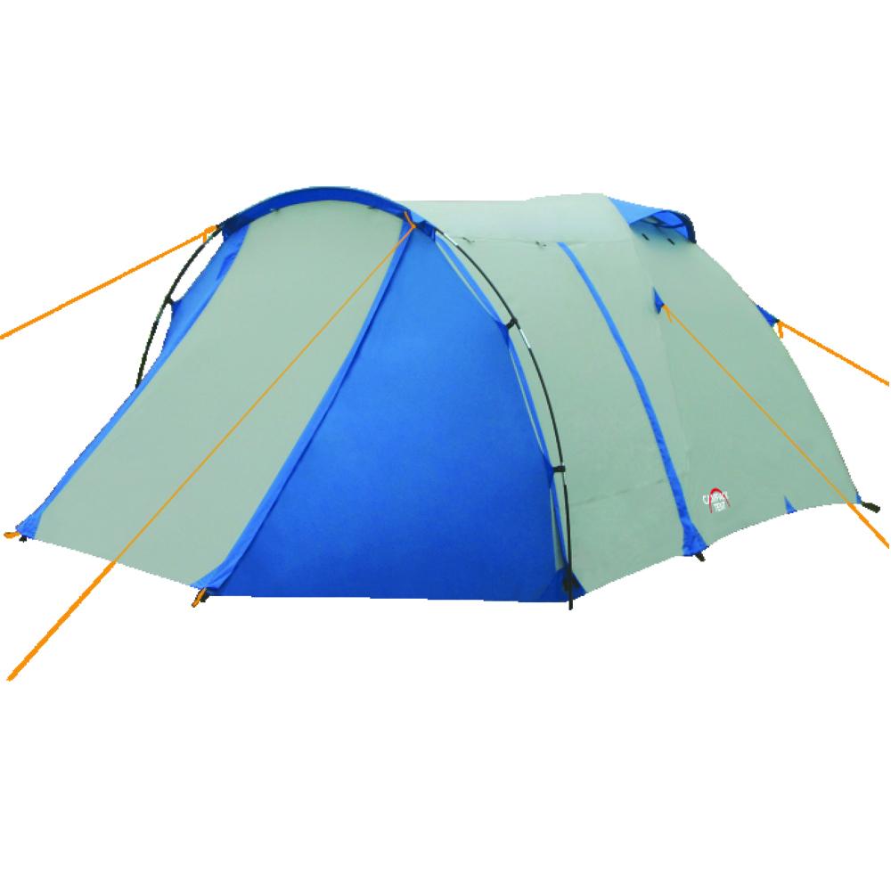 Палатка трехместная Campack Tent Breeze Explorer 337635Современная палатка для несложных походов и семейного отдыха на природе. Конструкция позволяет использовать ее как весной, так и осенью. Отличается увеличенными размерами и повышенной функциональностью. Эта модель особенно удобна для любителей комфорта (имеет увеличенную высоту) и объемного багажа, который легко разместить в тамбуре площадью 3,5 м2. Модель Breeze Explorer имеет три раздельных входа. Основной вход надежно защищен боковыми тентовыми крыльями, которые предотвращают задувание холодного воздуха, при сильных порывах ветра. Особенности: Высокопрочное дно изготовлено из армированного полиэтилена, не пропускает влагу и устойчиво к истиранию. Каркас, изготовленный из фибергласса, обеспечивает надежность и устойчивость. Палатка оснащена увеличенными вентиляционными окнами, клапаном от косого дождя и тремя входами с цветными молниями. Измененное крепление третьей дуги, значительно облегчает установку палатки. Внутри палатки...