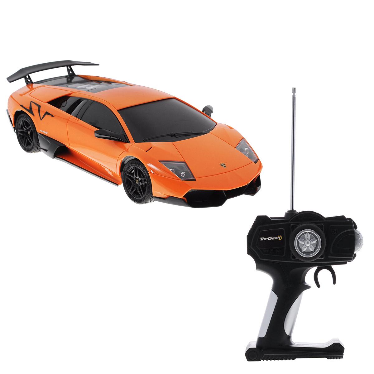 Радиоуправляемая модель автомобиля TopGear Lamborghini Murcielago LP 670-4, цвет: оранжевый. Масштаб 1/18Т56680_оранжевыйВсе мальчишки любят мощные крутые тачки! Особенно если это дорогие машины известной марки, которые, проезжая по улице, обращают на себя восторженные взгляды пешеходов. Радиоуправляемая модель TopGear Lamborghini Murcielago LP 670-4 - это детальная копия существующего автомобиля в масштабе 1:18. Машинка изготовлена из прочного легкого пластика; колеса прорезинены. При движении передние и задние фары машины светятся. При помощи пульта управления автомобиль может перемещаться вперед, дает задний ход, поворачивает влево и вправо, останавливается. Встроенные амортизаторы обеспечивают комфортное движение. В комплект входят машинка и пульт управления. Автомобиль отличается потрясающей маневренностью и динамикой. Ваш ребенок часами будет играть с моделью, устраивая захватывающие гонки. Для работы машины необходимо докупить 4 батарейки напряжением 1,5V типа АА (не входят в комплект). Для работы пульта управления необходимо докупить 2 батарейки напряжением...