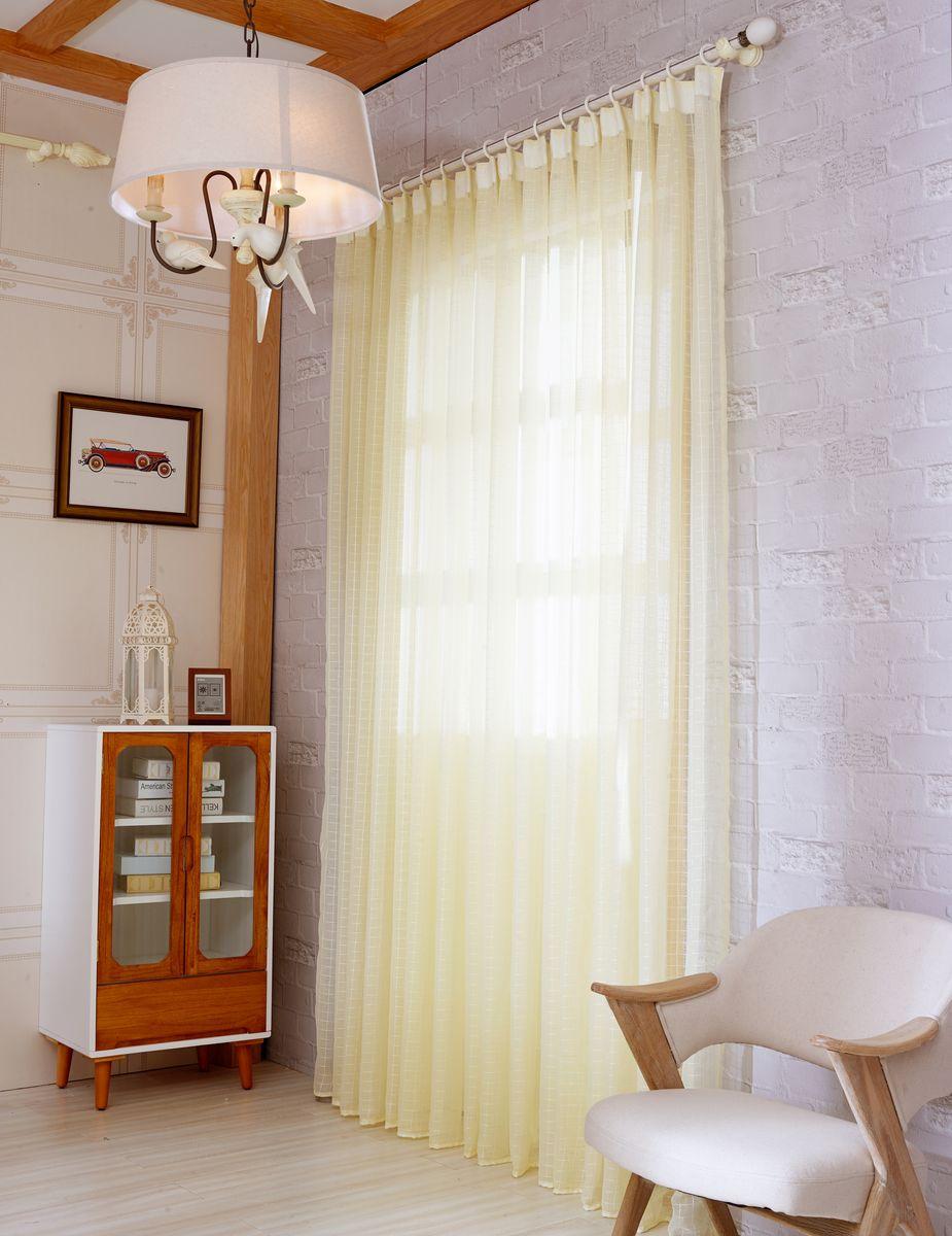 Тюль Zlata Korunka, на ленте, цвет: кремово-желтый, высота 250 см. 20152-620152-6Тюль Zlata Korunka изготовлен из 100% полиэстера и великолепно украсит любое окно. Воздушная ткань и приятная, приглушенная гамма привлекут к себе внимание и органично впишутся в интерьер помещения. Полиэстер - вид ткани, состоящий из полиэфирных волокон. Ткани из полиэстера - легкие, прочные и износостойкие. Такие изделия не требуют специального ухода, не пылятся и почти не мнутся. Крепление к карнизу осуществляется с использованием ленты-тесьмы. Такой тюль идеально оформит интерьер любого помещения. Рекомендации по уходу: - ручная стирка, - можно гладить, - нельзя отбеливать.