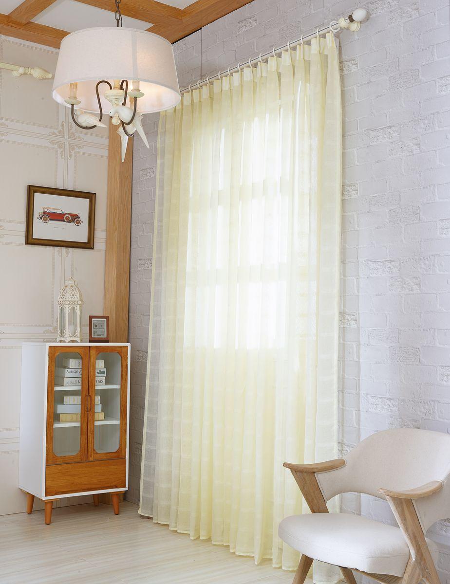 Тюль Zlata Korunka, на ленте, цвет: кремово-желтый, высота 270 см. 20153-820153-8Тюль Zlata Korunka изготовлен из 100% полиэстера и великолепно украсит любое окно. Воздушная ткань и приятная, приглушенная гамма привлекут к себе внимание и органично впишутся в интерьер помещения. Полиэстер - вид ткани, состоящий из полиэфирных волокон. Ткани из полиэстера - легкие, прочные и износостойкие. Такие изделия не требуют специального ухода, не пылятся и почти не мнутся. Крепление к карнизу осуществляется с использованием ленты-тесьмы. Такой тюль идеально оформит интерьер любого помещения. Рекомендации по уходу: - ручная стирка, - можно гладить, - нельзя отбеливать.